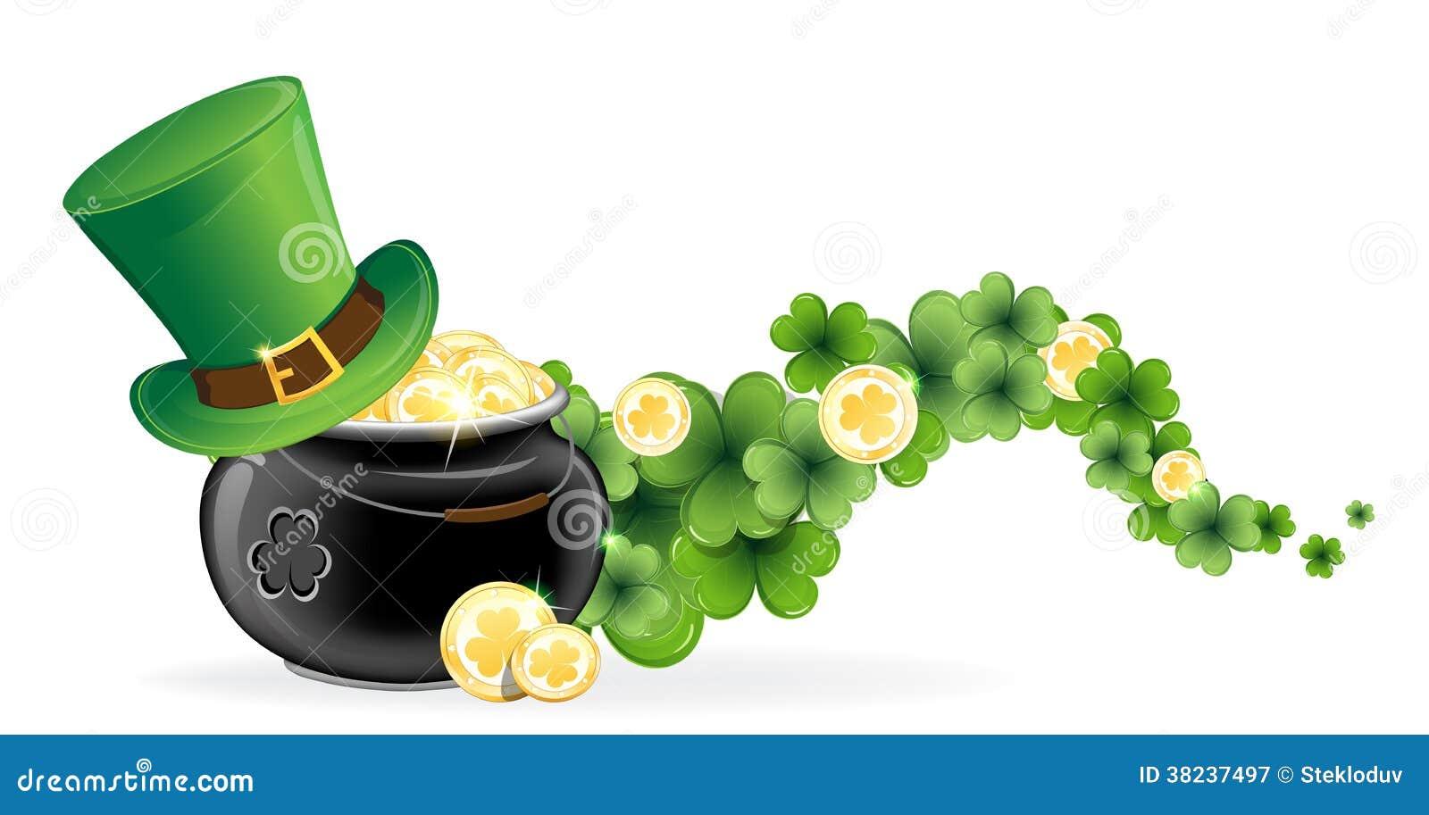 Leprechaun And Pot Of Gold Cartoon Vector | CartoonDealer ...