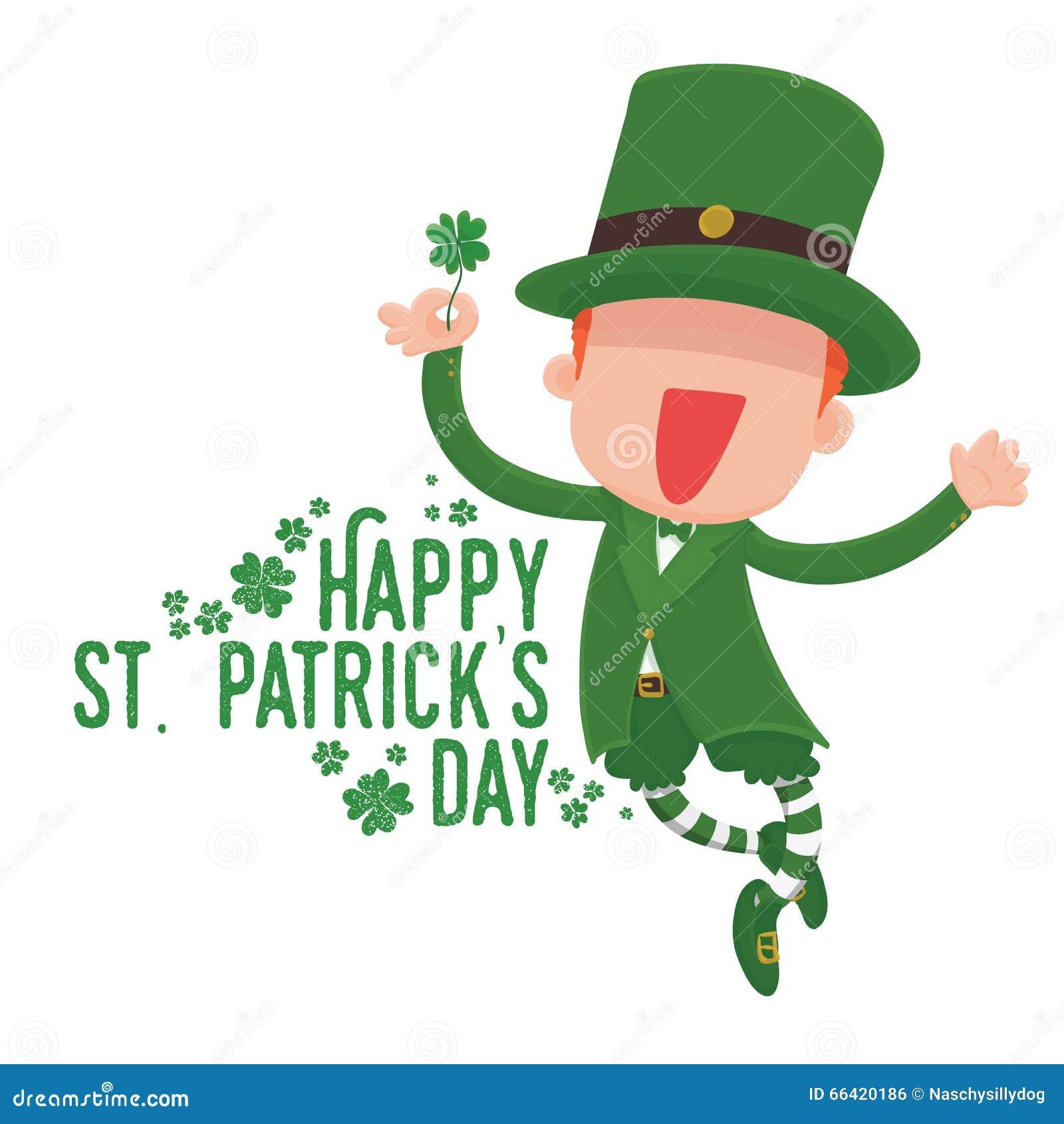 Leprechaun Holding A Four-Leaf Clover For St. Patrick's ...