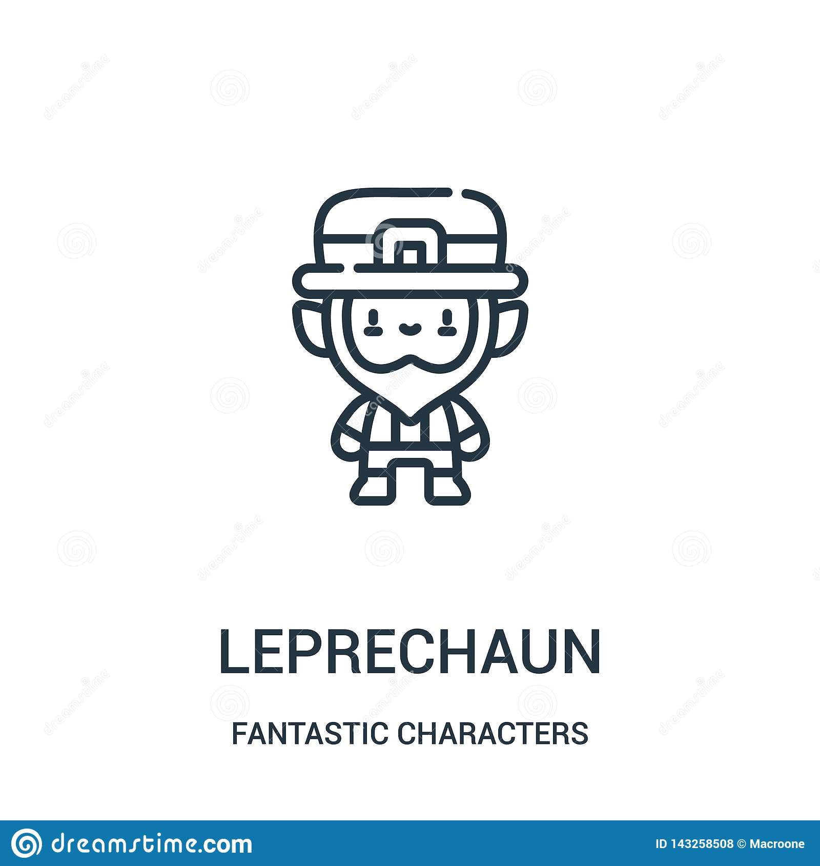 leprechaun icon vector from fantastic characters collection. Thin line leprechaun outline icon vector illustration