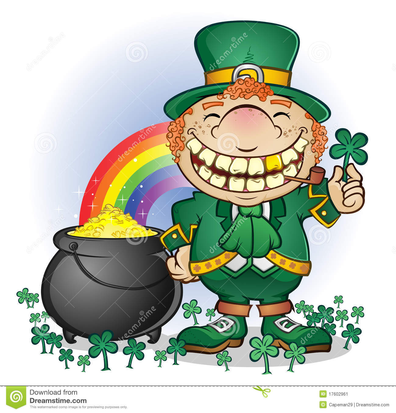 Leprechaun With Pot Of Gold Stock Image Image 17602961