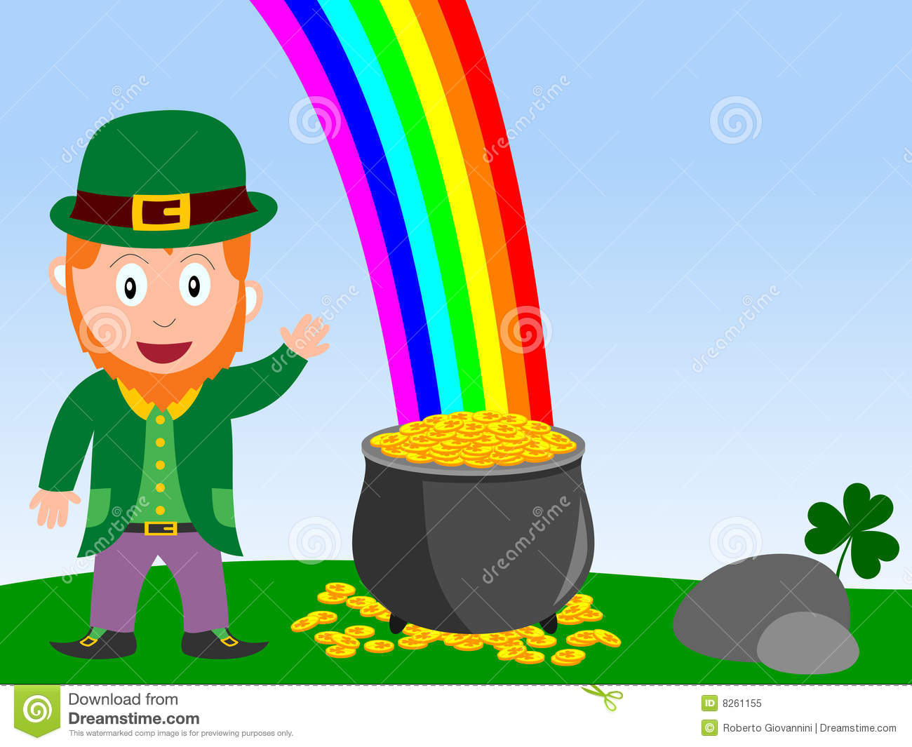 leprechaun and pot of gold stock vector  image of colours    royalty free stock photo  download leprechaun and pot of gold