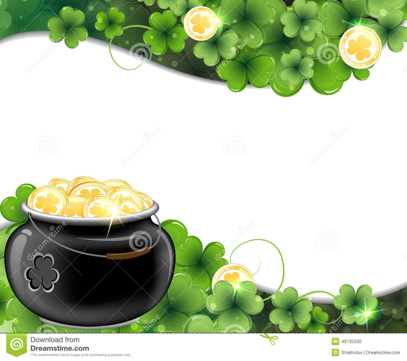 Leprechaun pot on clover and gold coins. St. Patrick's Day background.