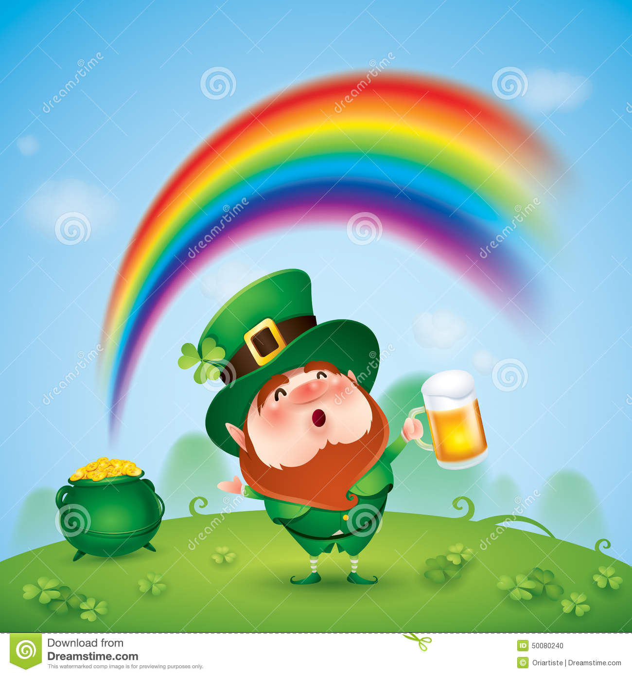 Leprechaun With Pot Of Gold At The End Of Rainbow Stock Vector - Image ...