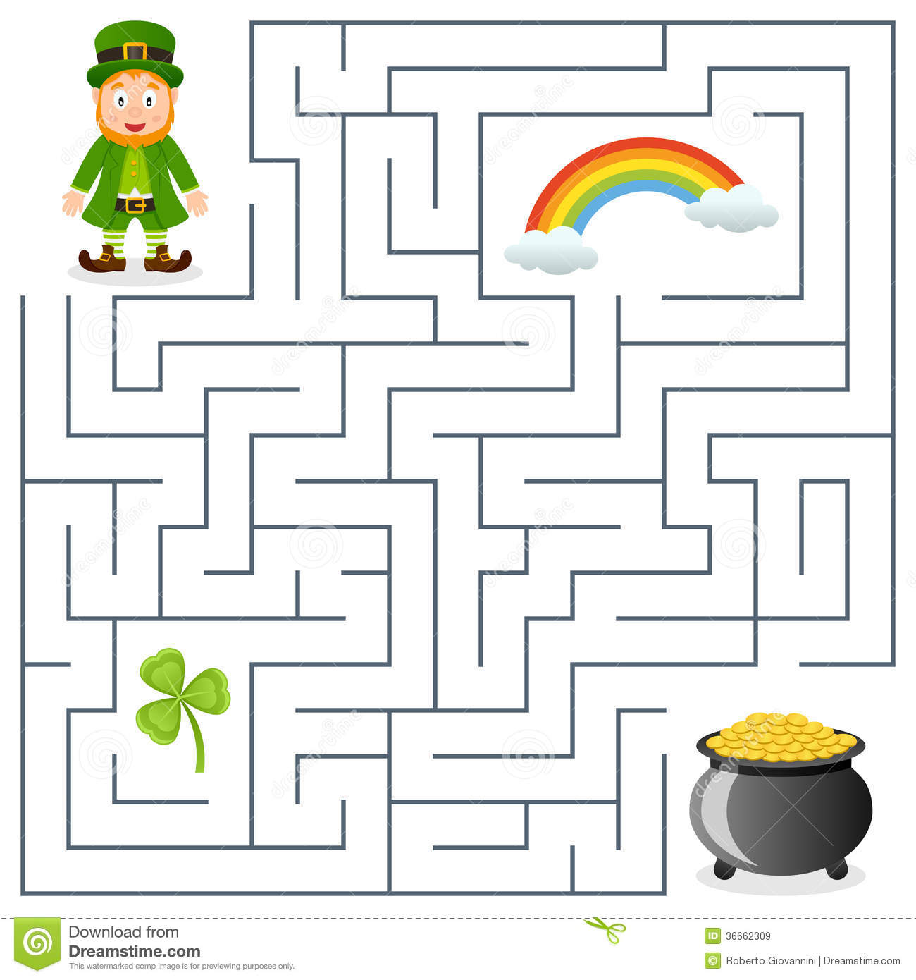 leprechaun u0026 pot of gold maze for kids royalty free stock images
