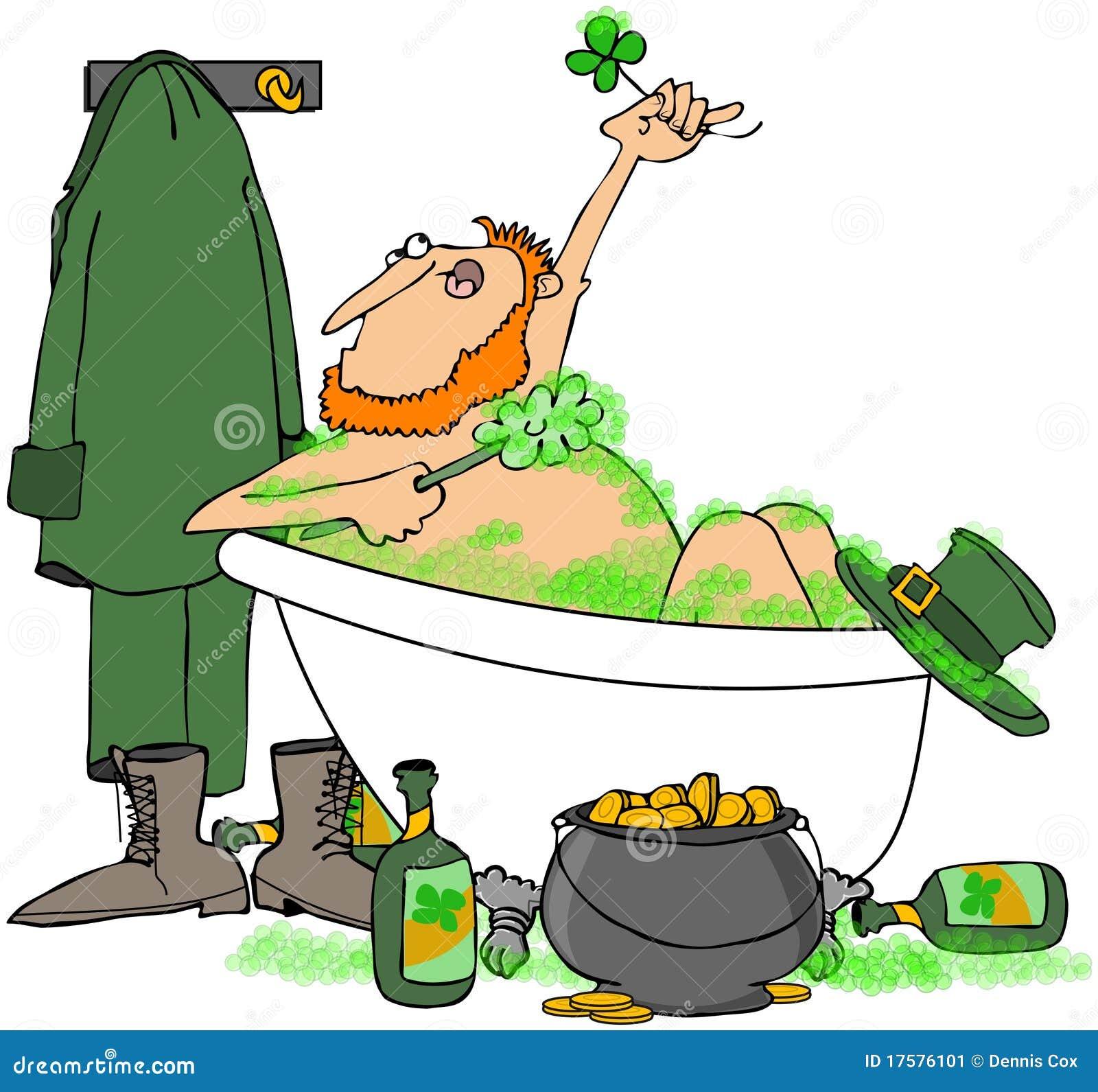 Imagenes De Tomar Un Baño: representa un Leprechaun irlandés que toma un baño de burbuja