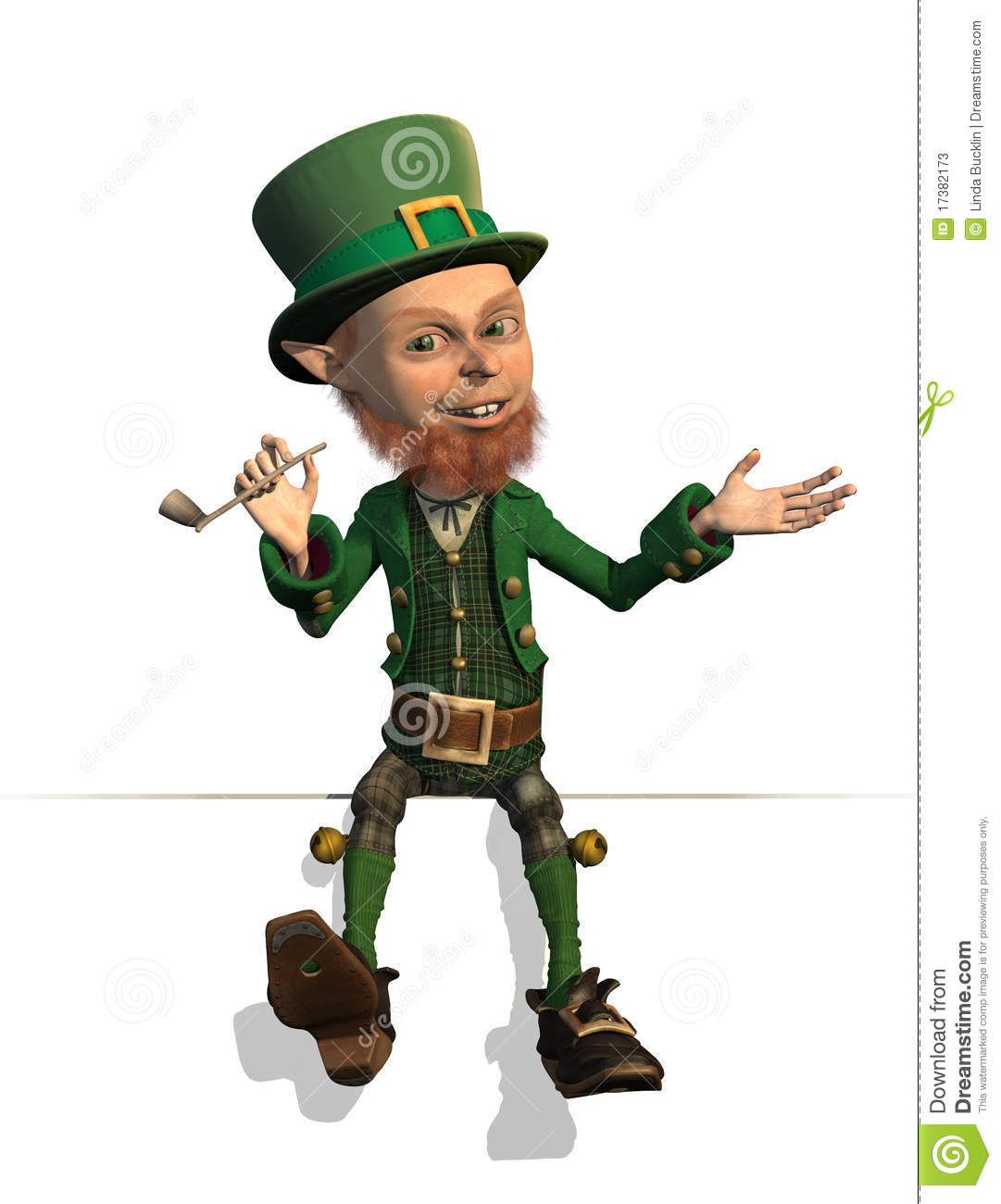 friendly leprechaun is sitting on an edge or border - 3D render.