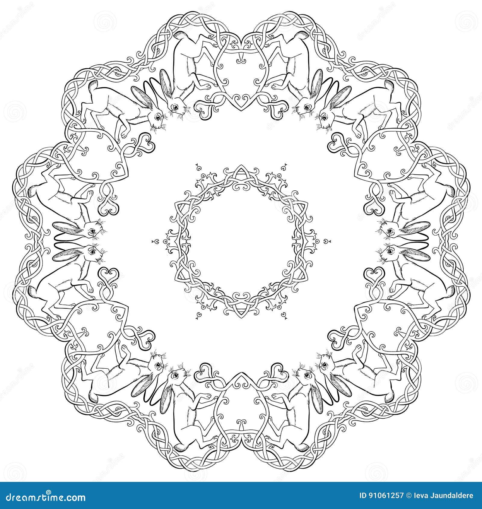 Lepri Celtiche Nella Mandala Celtica Dellornamento Di Amore