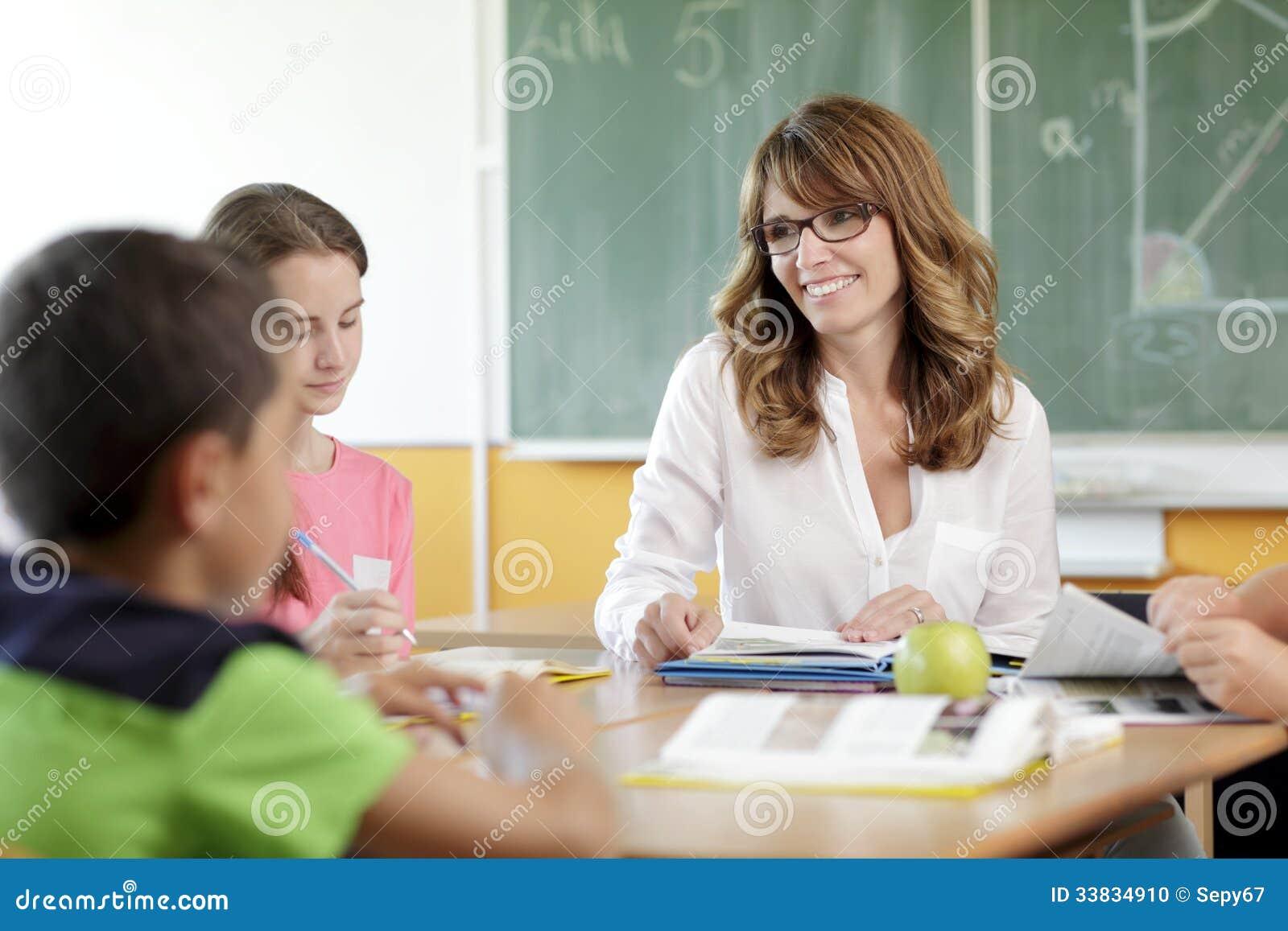Leraar en student in les