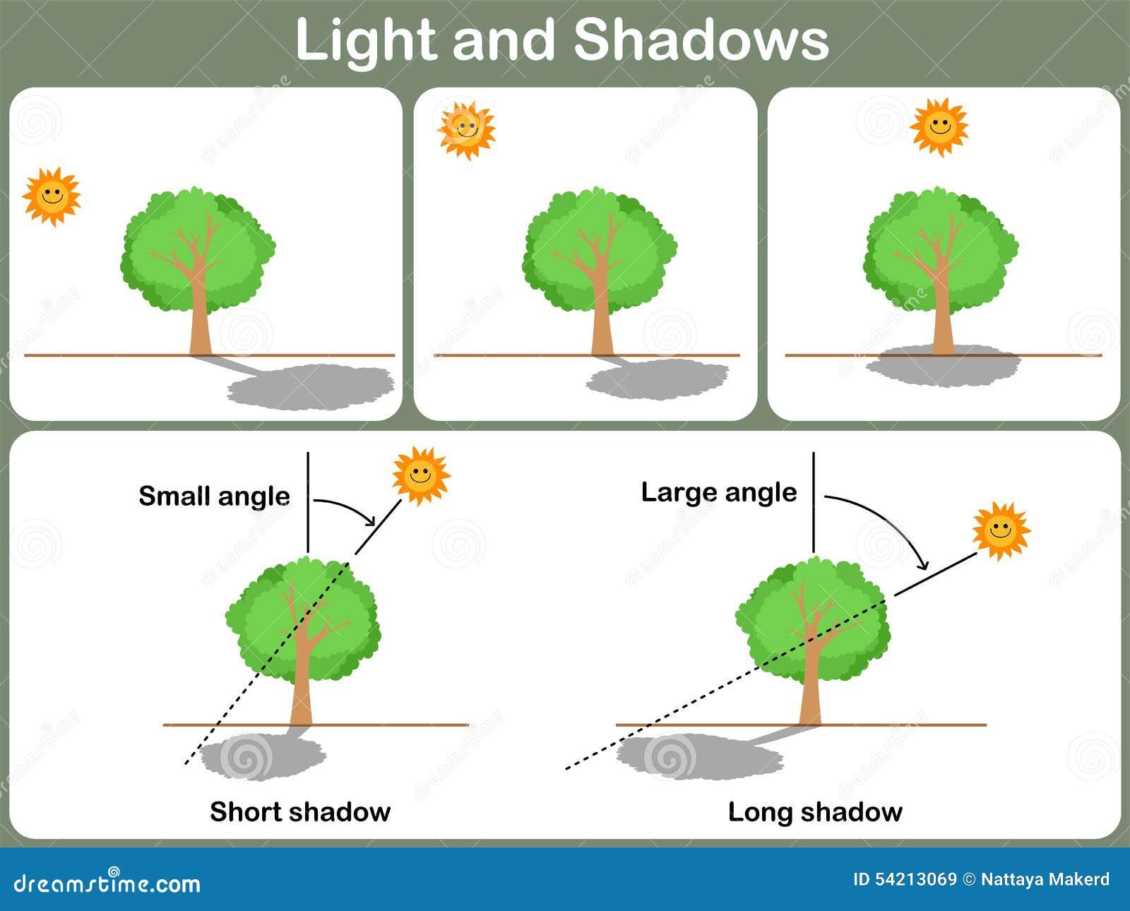 Lernen Licht Und Schatten Für Kinder - Arbeitsblatt Vektor Abbildung ...