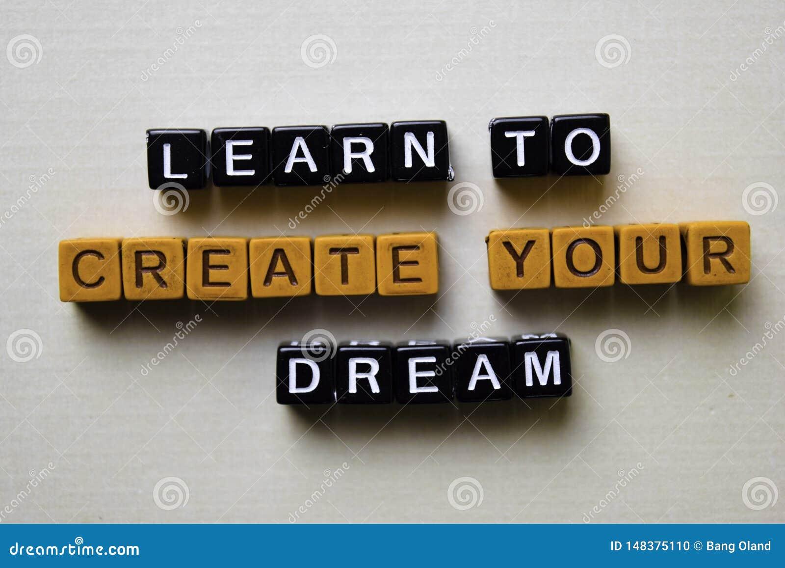 Lernen Sie, Ihren Traum auf Holzkl?tzen zu schaffen Gesch?fts- und Inspirationskonzept
