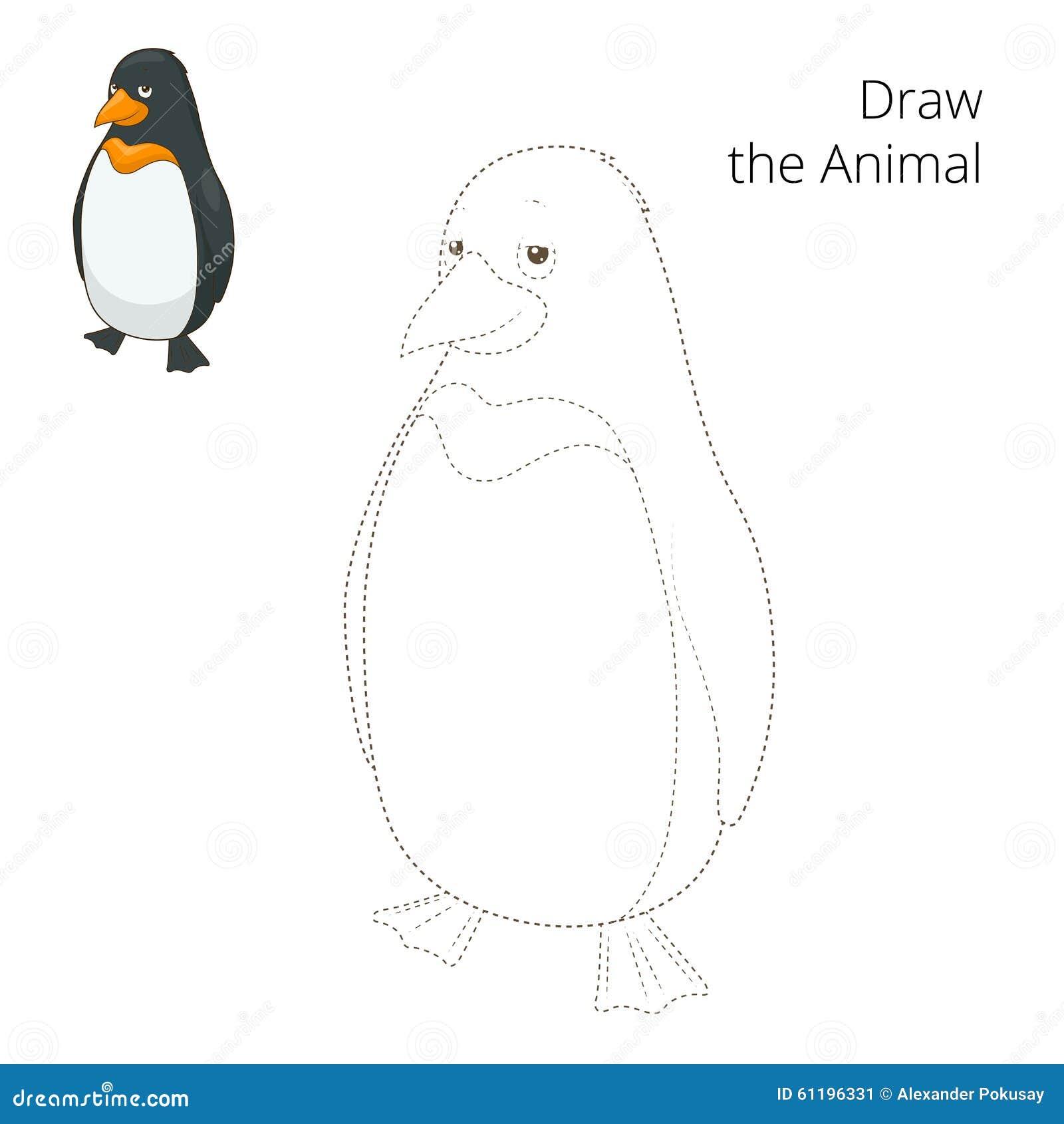 Lernen Sie Tierpinguinvektorillustration Zu Zeichnen Vektor