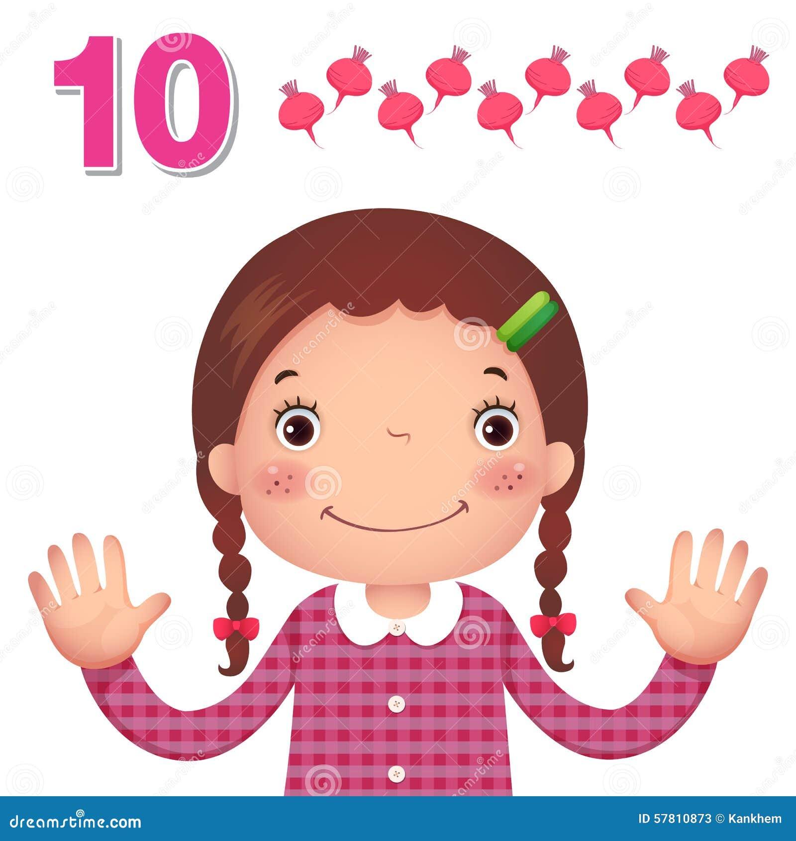 Lernen Sie Zahl und die Zählung mit kid's Hand, welche die Zahl t zeigt