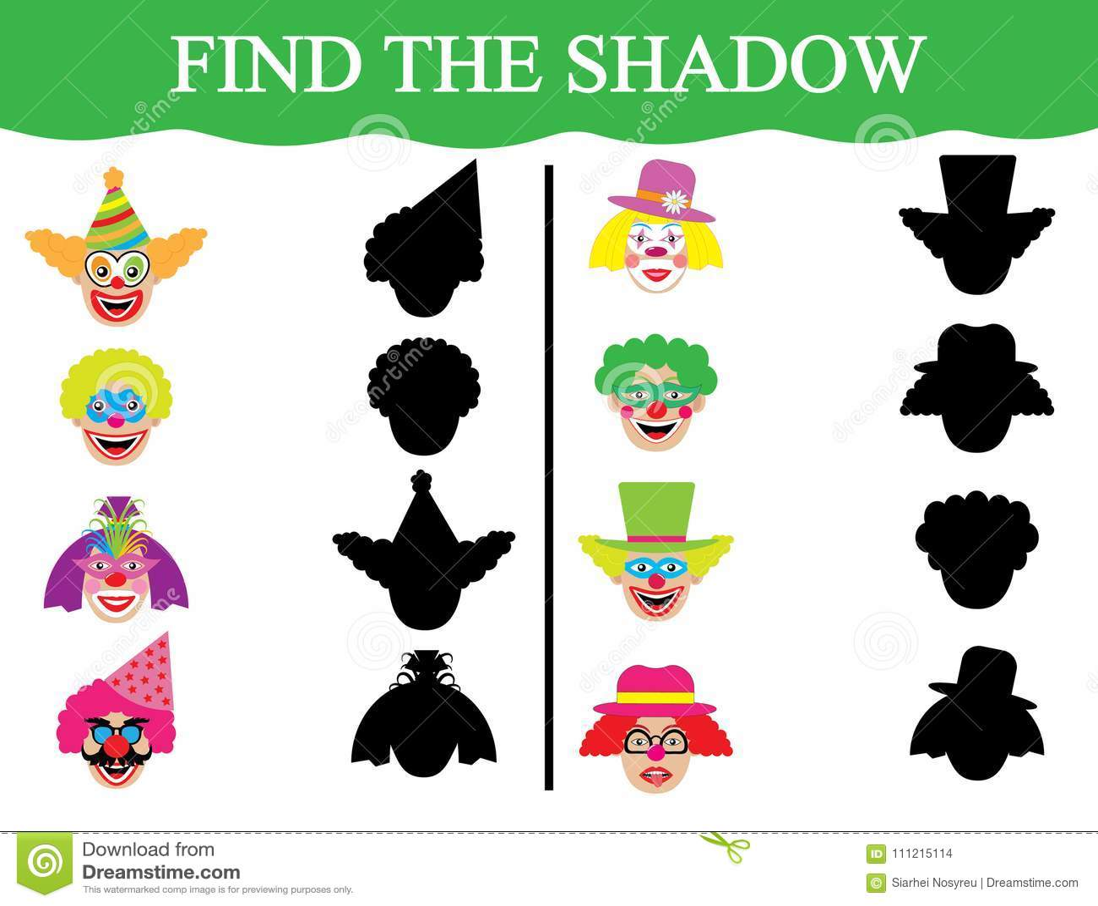 Lernspiel für Kinder Entwicklung der Aufmerksamkeit Finden Sie die Schatten von clown's Gesichtern