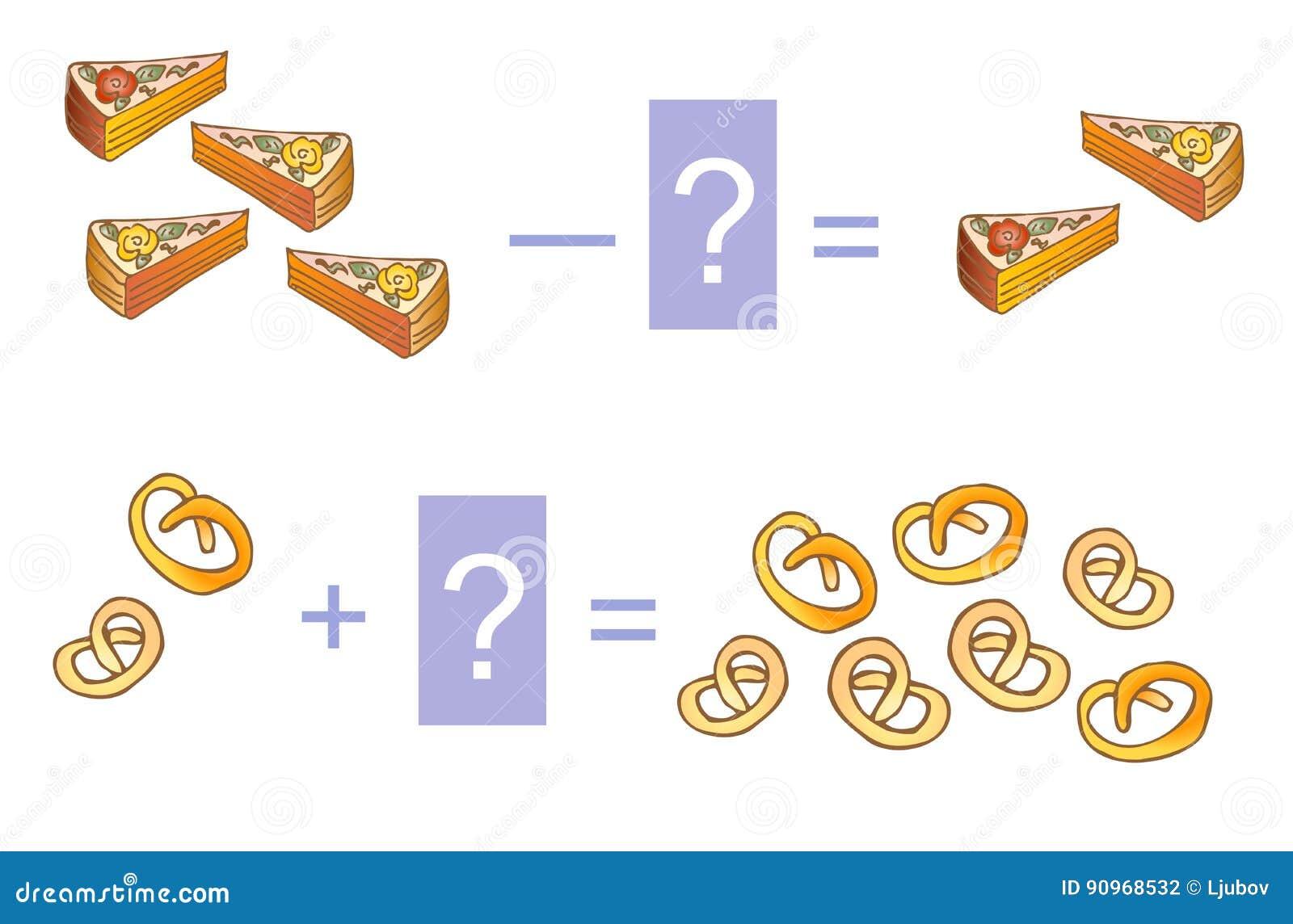 lernspiel fr kinder mathematischer zusatz und abzug beispiele mit kuchen und keksen - Kuchen Beispiele