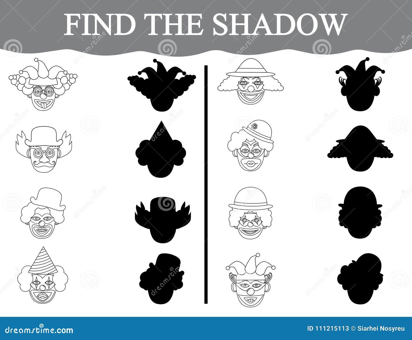 Lernspiel für Vorschulkinder Finden Sie die Schatten von clown's Gesichtern und färben Sie sie