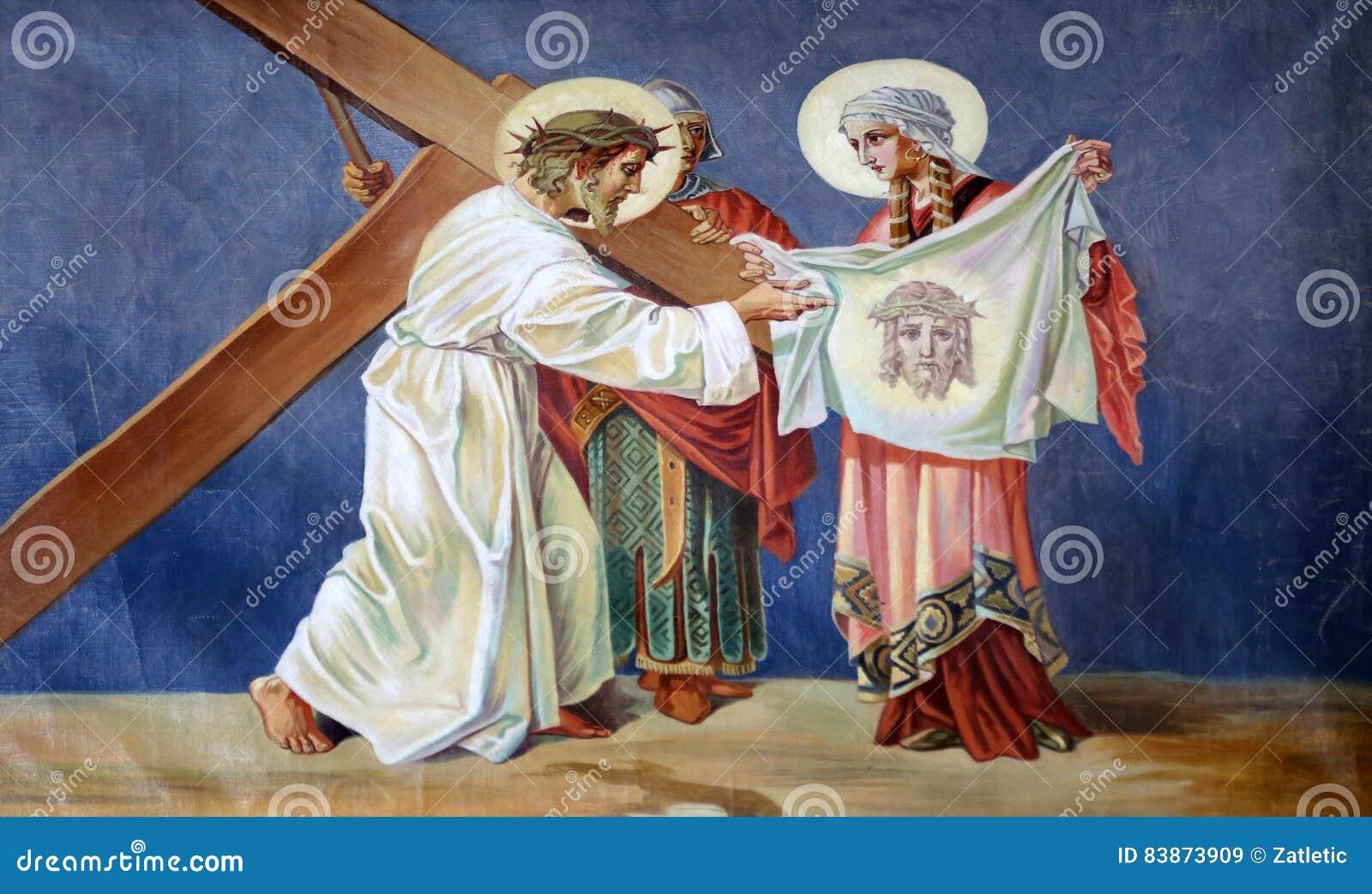 Les 6èmes stations de la croix, Veronica essuie le visage de Jésus