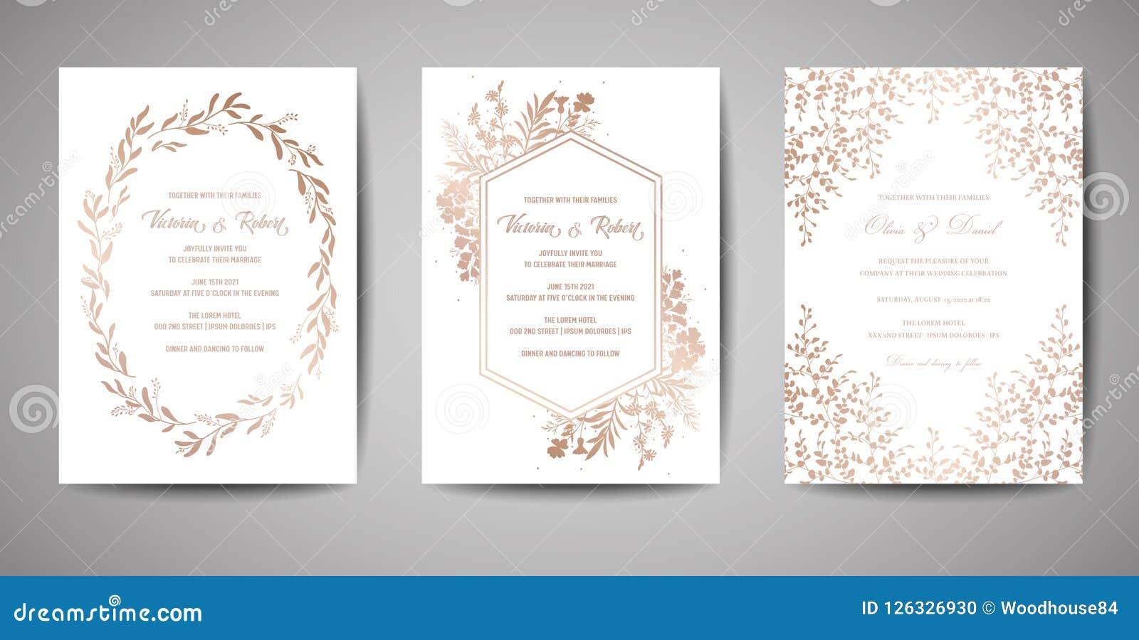 Les économies de luxe de mariage la date, collection de cartes d invitation avec la feuille d or couverture à la mode fleurissent