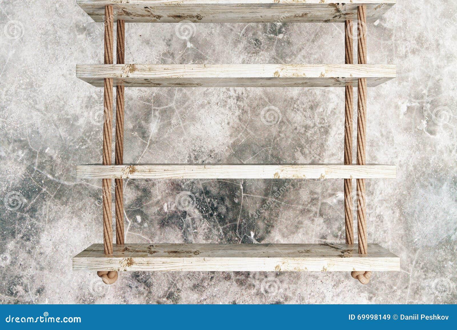 les étagères suspendues ont donné au béton une consistance rugueuse