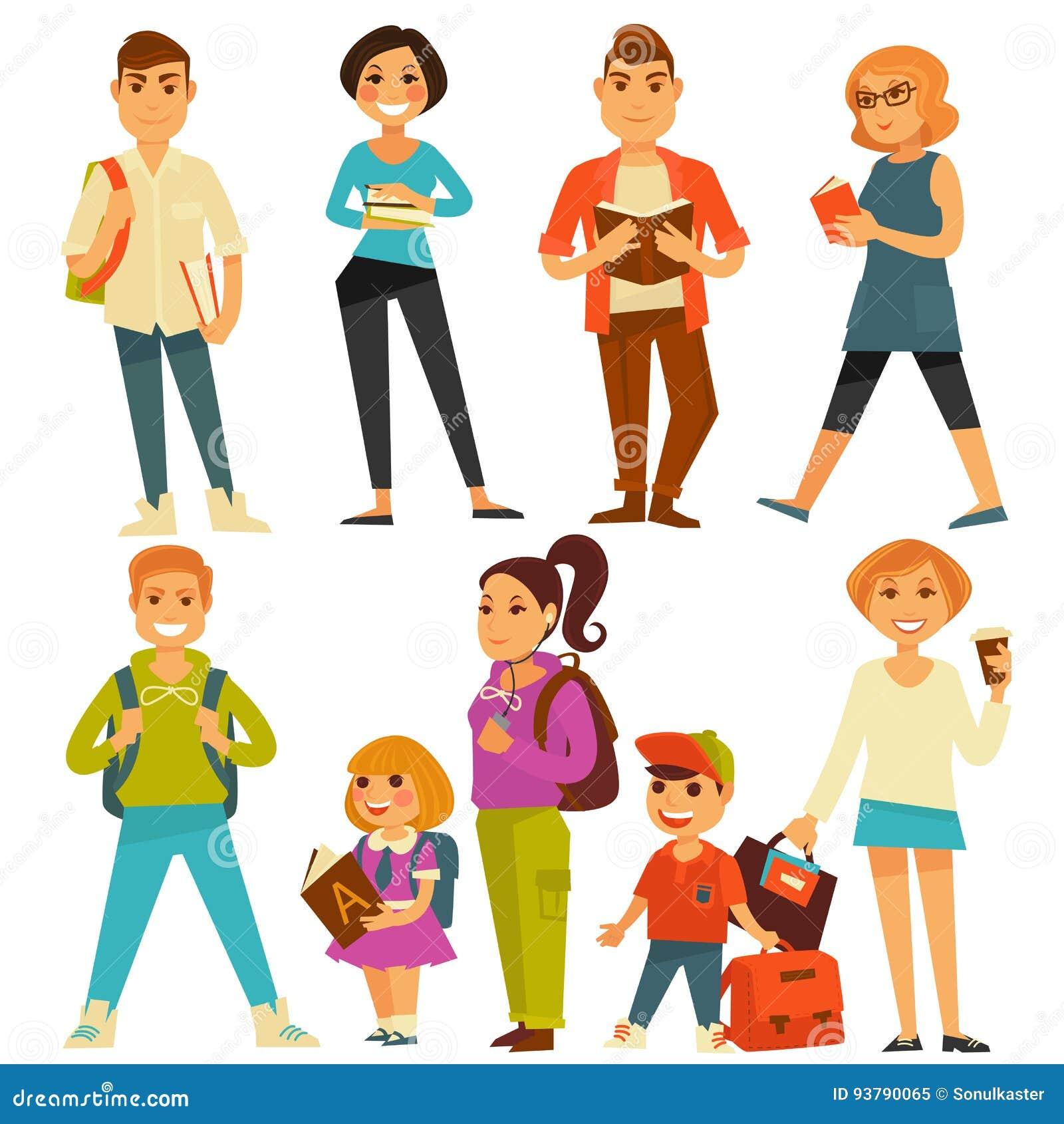 Les adolescents et les enfants d étudiants et d élèves d école dirigent les icônes plates