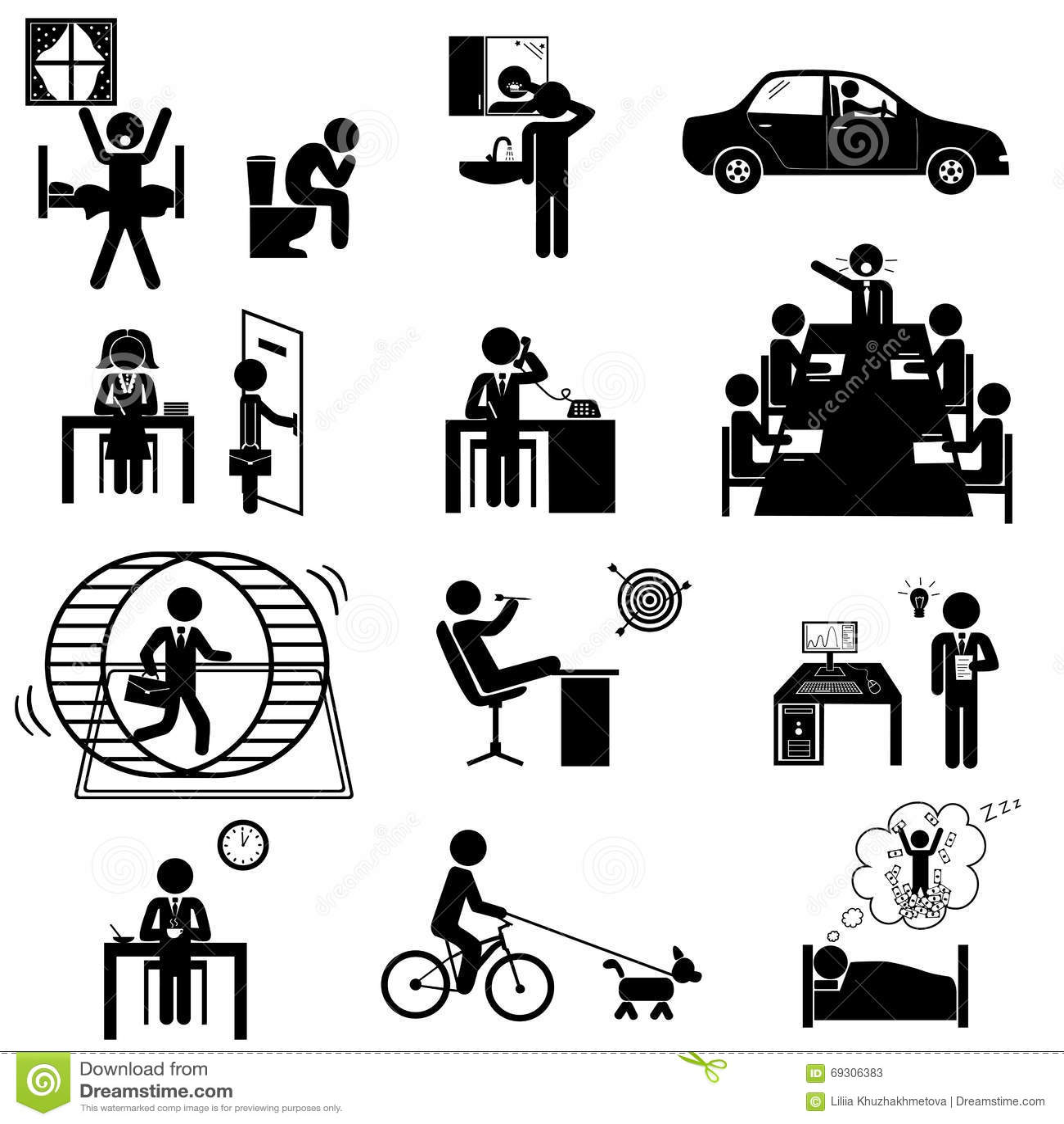 les affaires de bureau collent des ic nes illustration de vecteur image 69306383. Black Bedroom Furniture Sets. Home Design Ideas