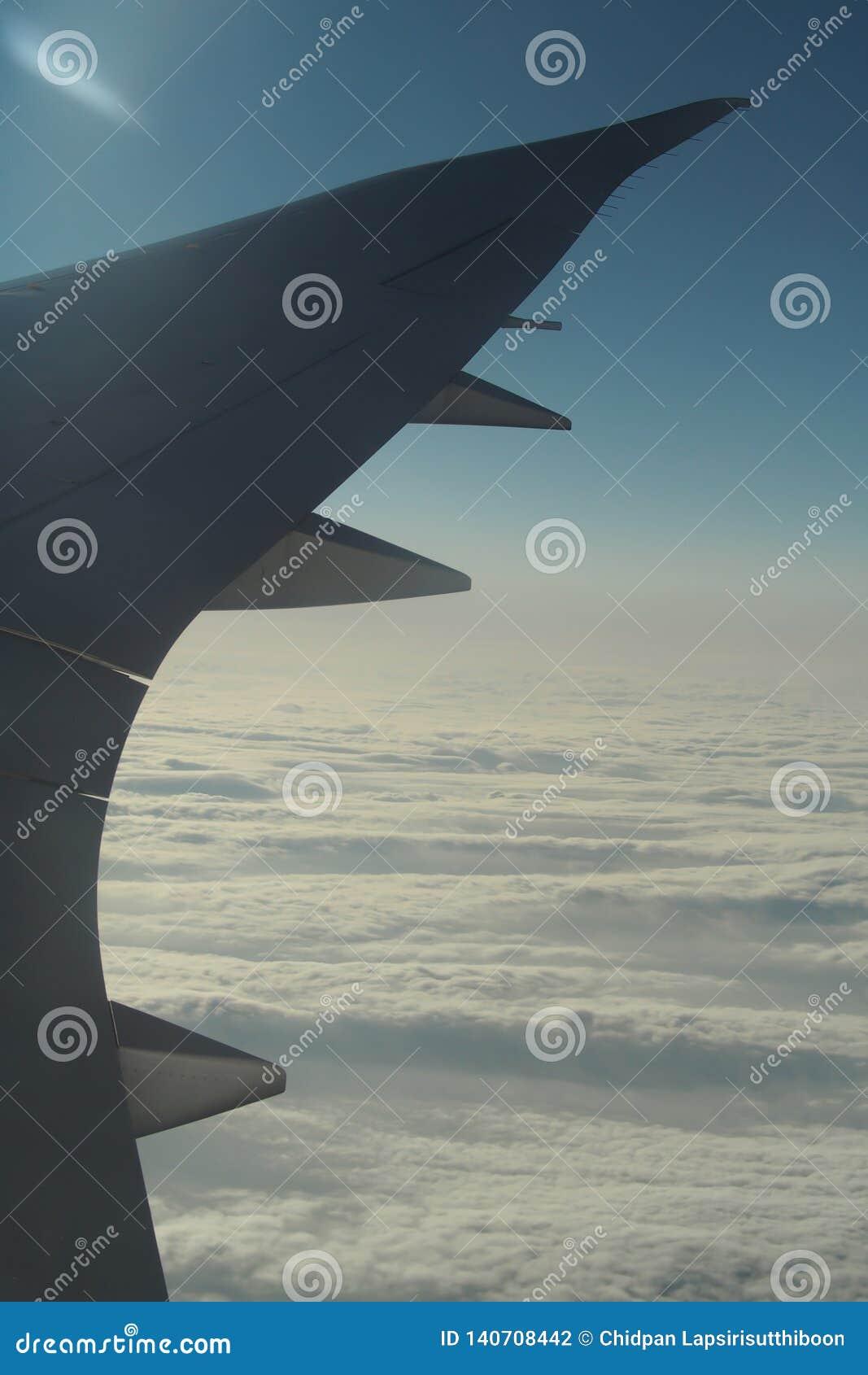 Les ailes de l avion sur un fond de nuage et le ciel lumineux Pour tirer par une fenêtre plate