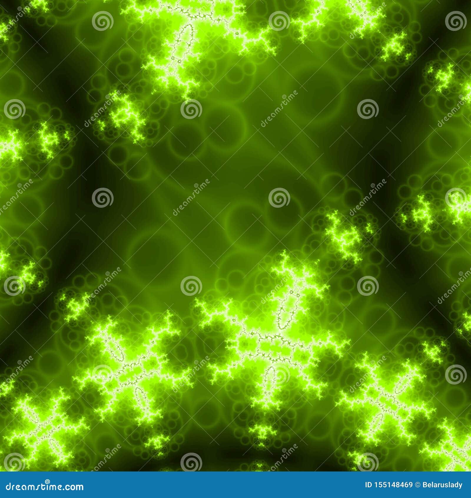Les ailes de lames de turbine de turbines se développent en spirales fractale abstraite d effet au néon vert de lueur sur le fond