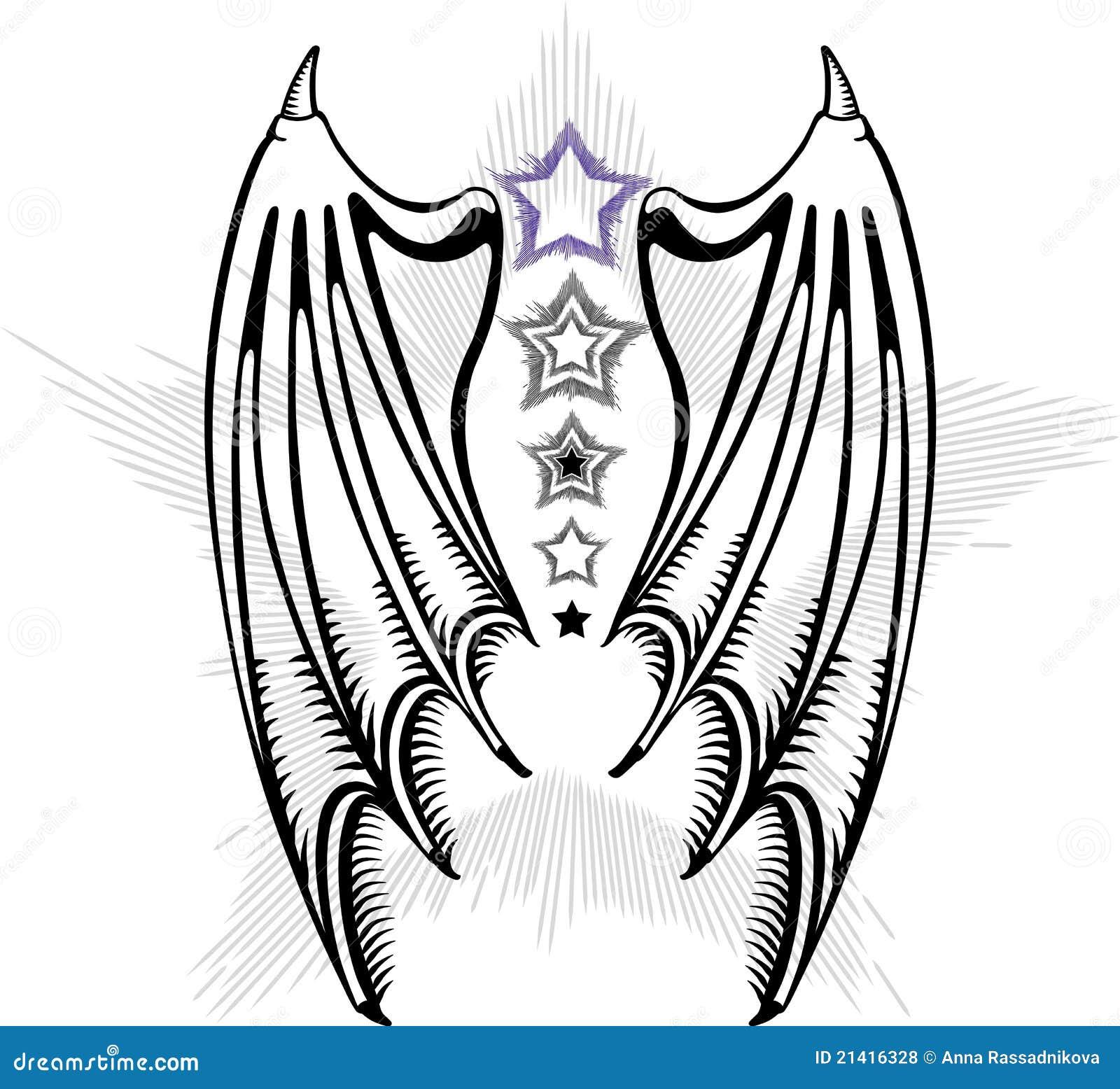 Les ailes du diable illustration de vecteur illustration - Aile de dragon dessin ...