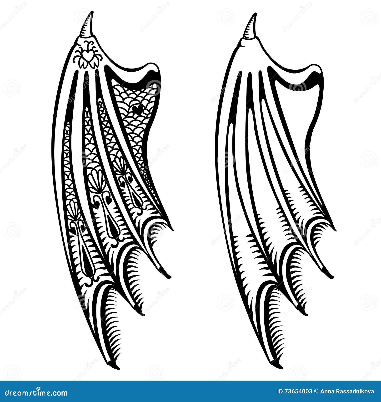 Les Ailes Du Diable Réglées Illustration De Vecteur Illustration Du Ailes Réglées 73654003