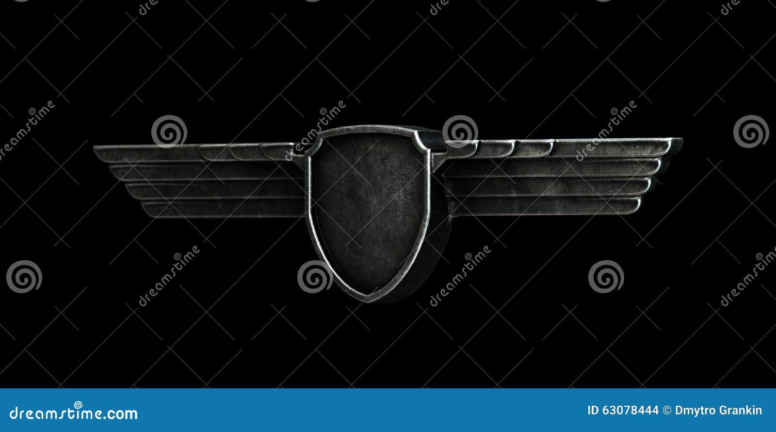 Download Les Ailes Noires En Métal D'isolement Sur Le Fond Noir Sont Parties De La Vue Illustration Stock - Illustration du oiseau, illustration: 63078444