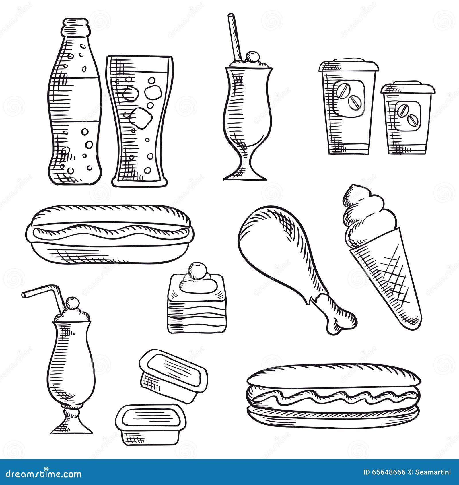 Les aliments de préparation rapide avec le dessert et les boissons esquissent des icônes