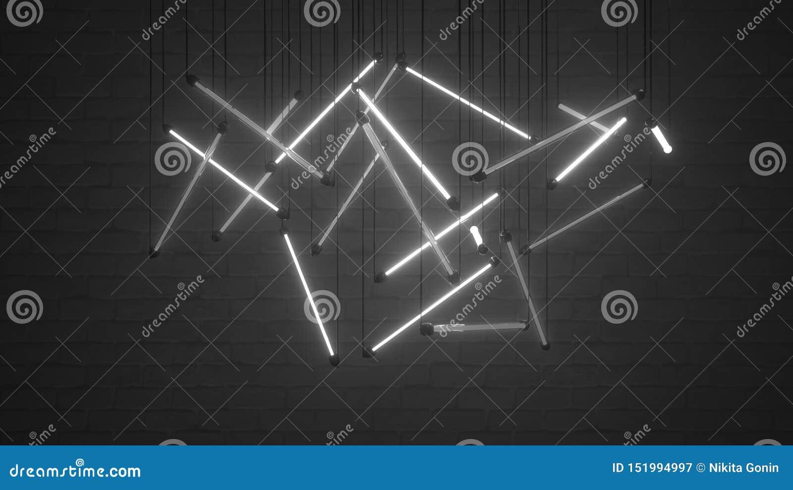 Les ampoules blanches 3D de lampe au néon rendent l illustration