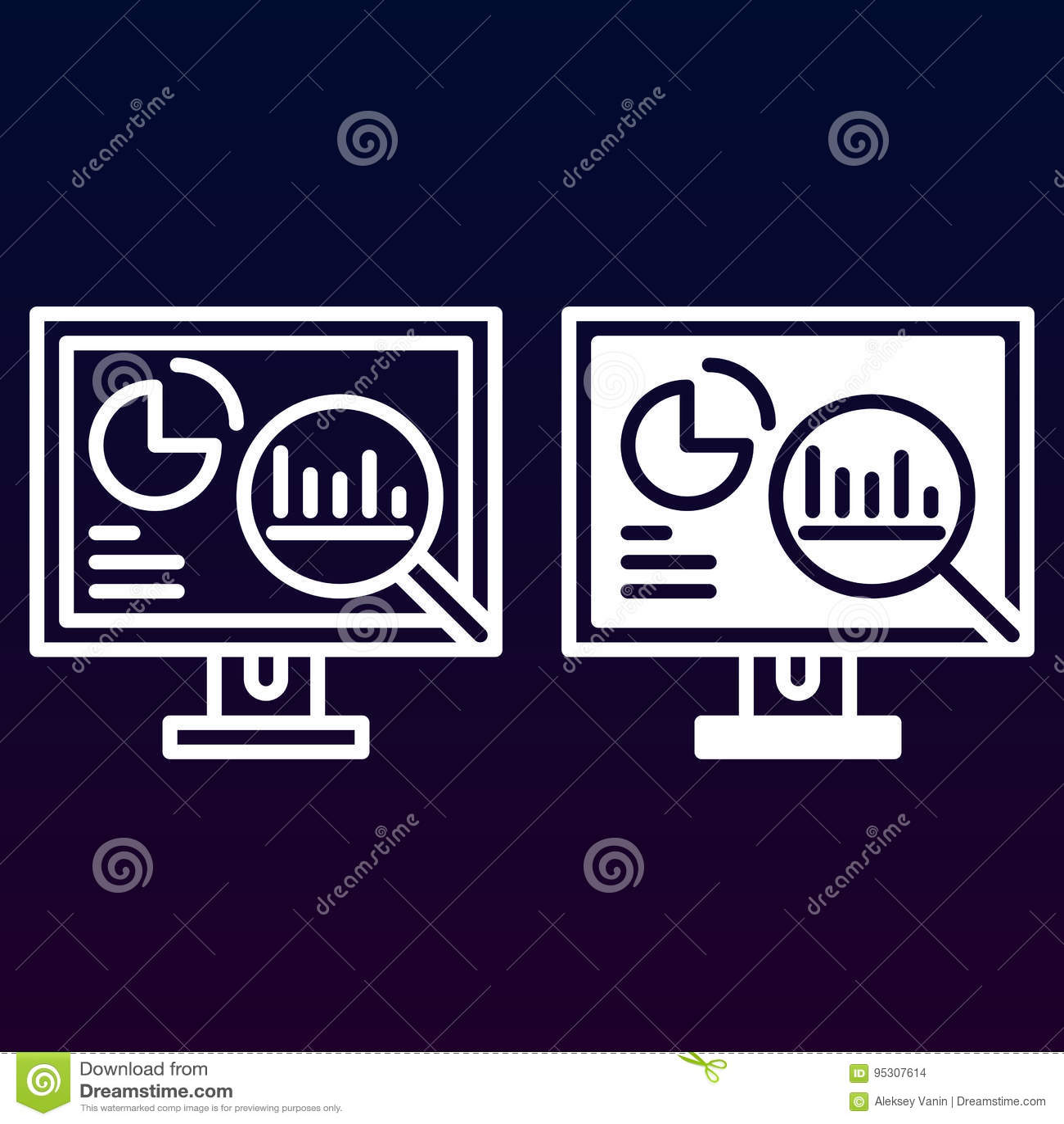 Les Analytics, PC de bureau avec des graphiques rayent et icône solide, décrivent et ont rempli le pictogramme de signe de vecteu