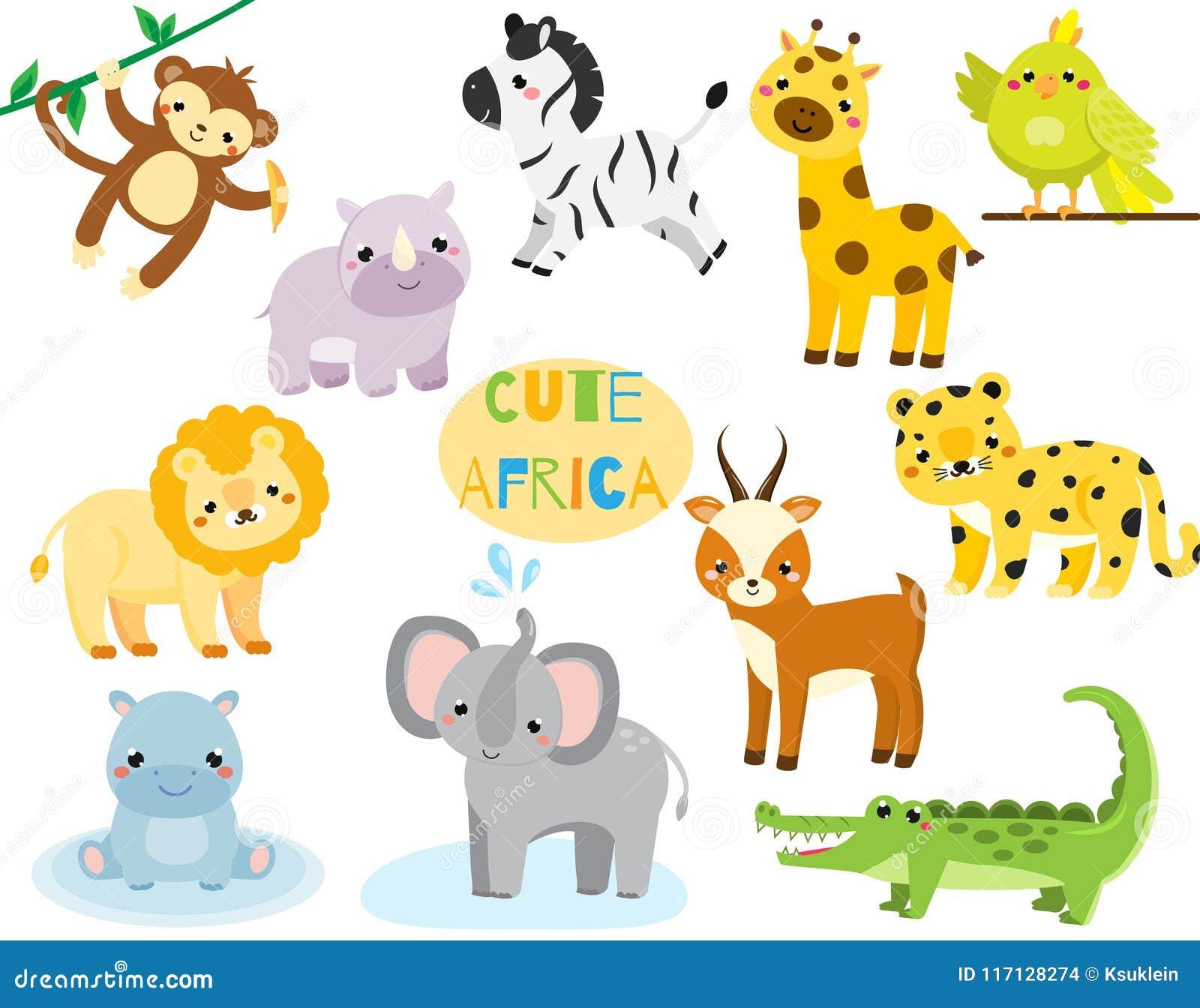 Les animaux africains de dessin animé mignon ont placé Singe, rhion, lion et toute autre faune de la savane pour des enfants et d
