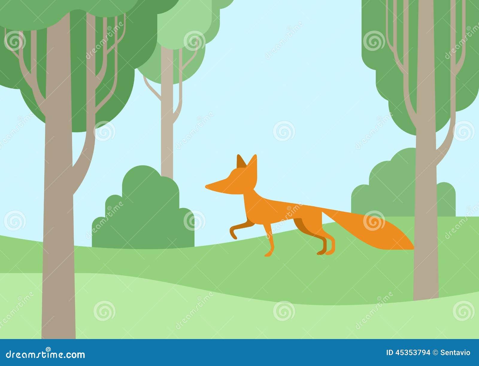 Les animaux sauvages de bande dessinée plate de conception maculent dans la forêt