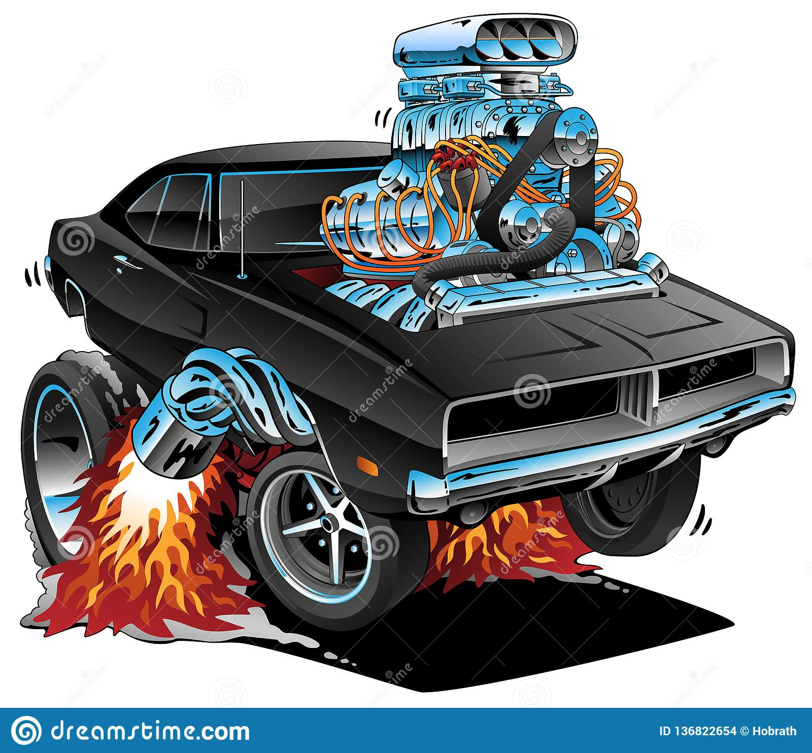 Les années  60 classiques dénomment la voiture américaine de muscle, moteur énorme de Chrome, sautant un Wheelie, illustration de