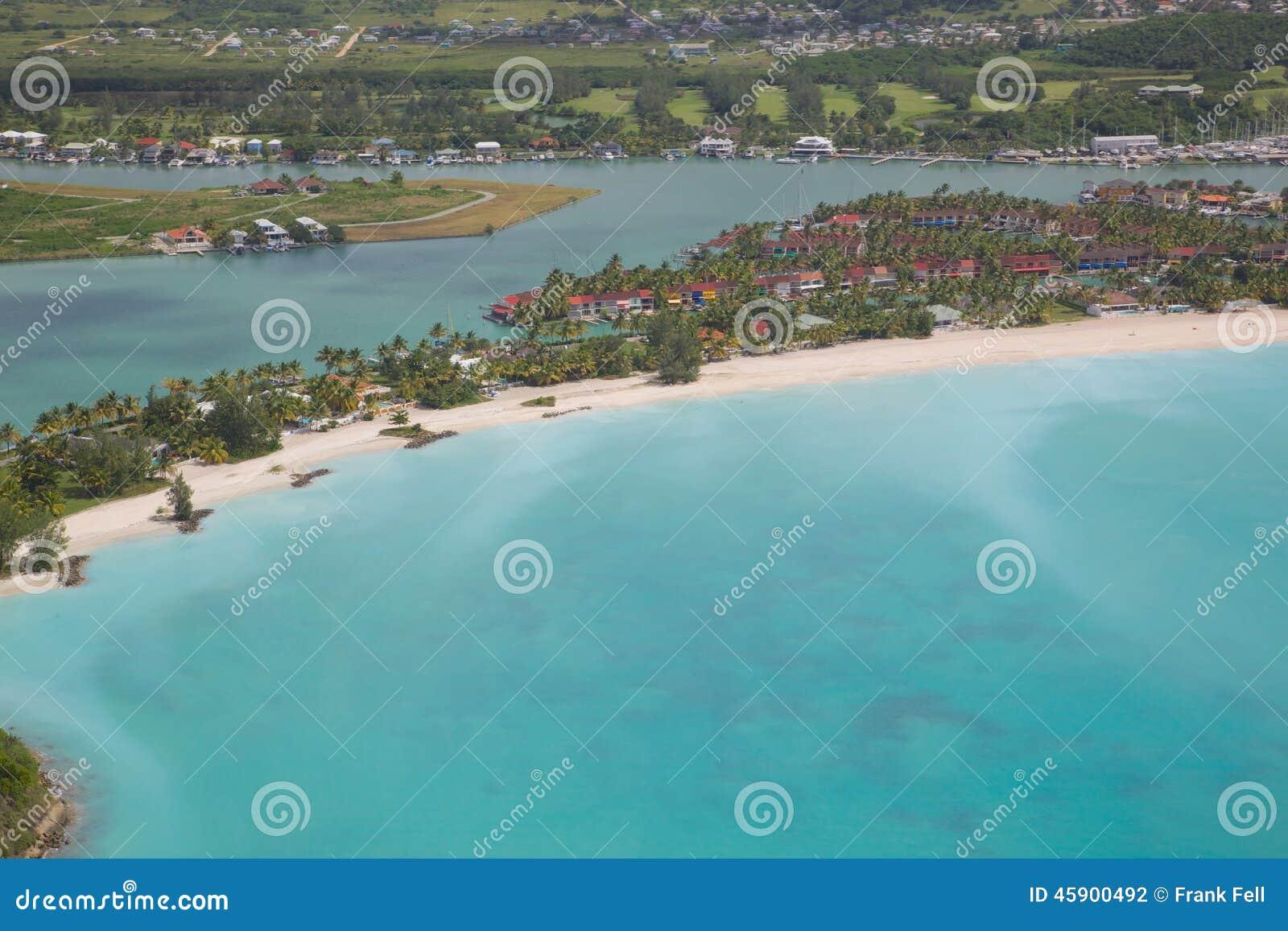 Les Antilles, les Caraïbe, Antigua, vue au-dessus de Jolly Harbour