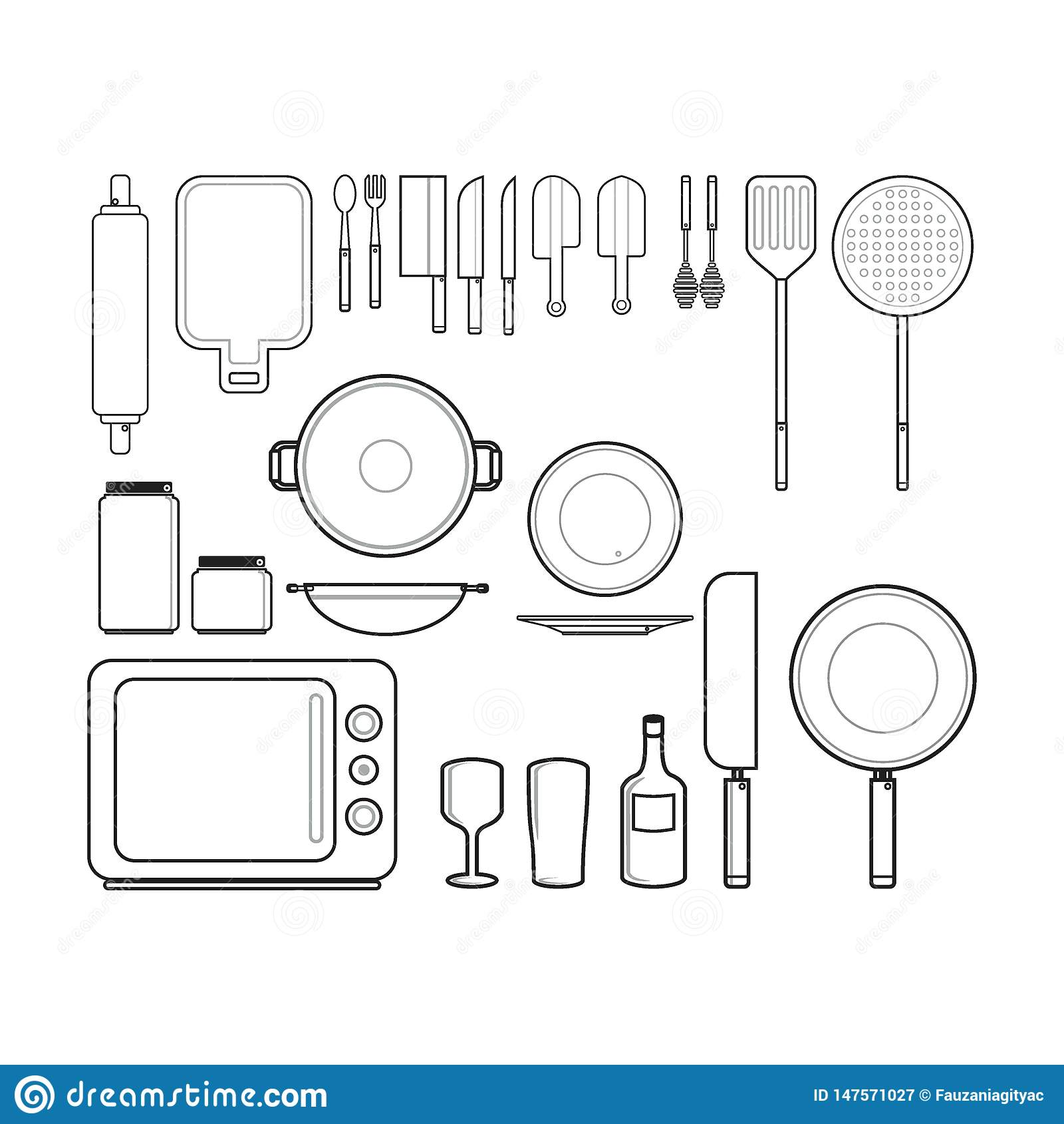 Les appareils de cuisine silhouettent le concept d illustration ou de logo