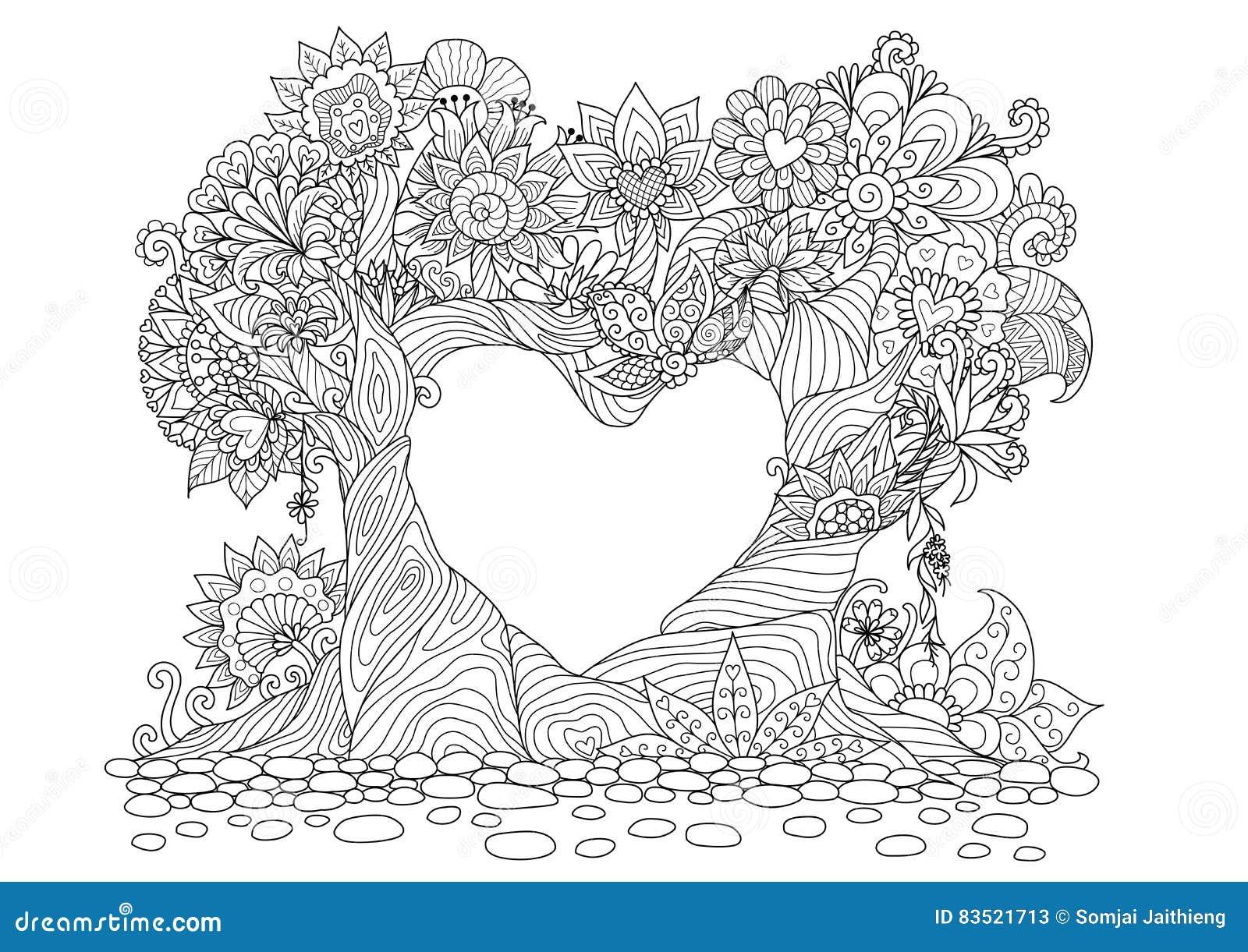 Coloriage Coeur Brillant.Les Arbres Abstraits Dans Schema Forme De Coeur Concoivent Pour