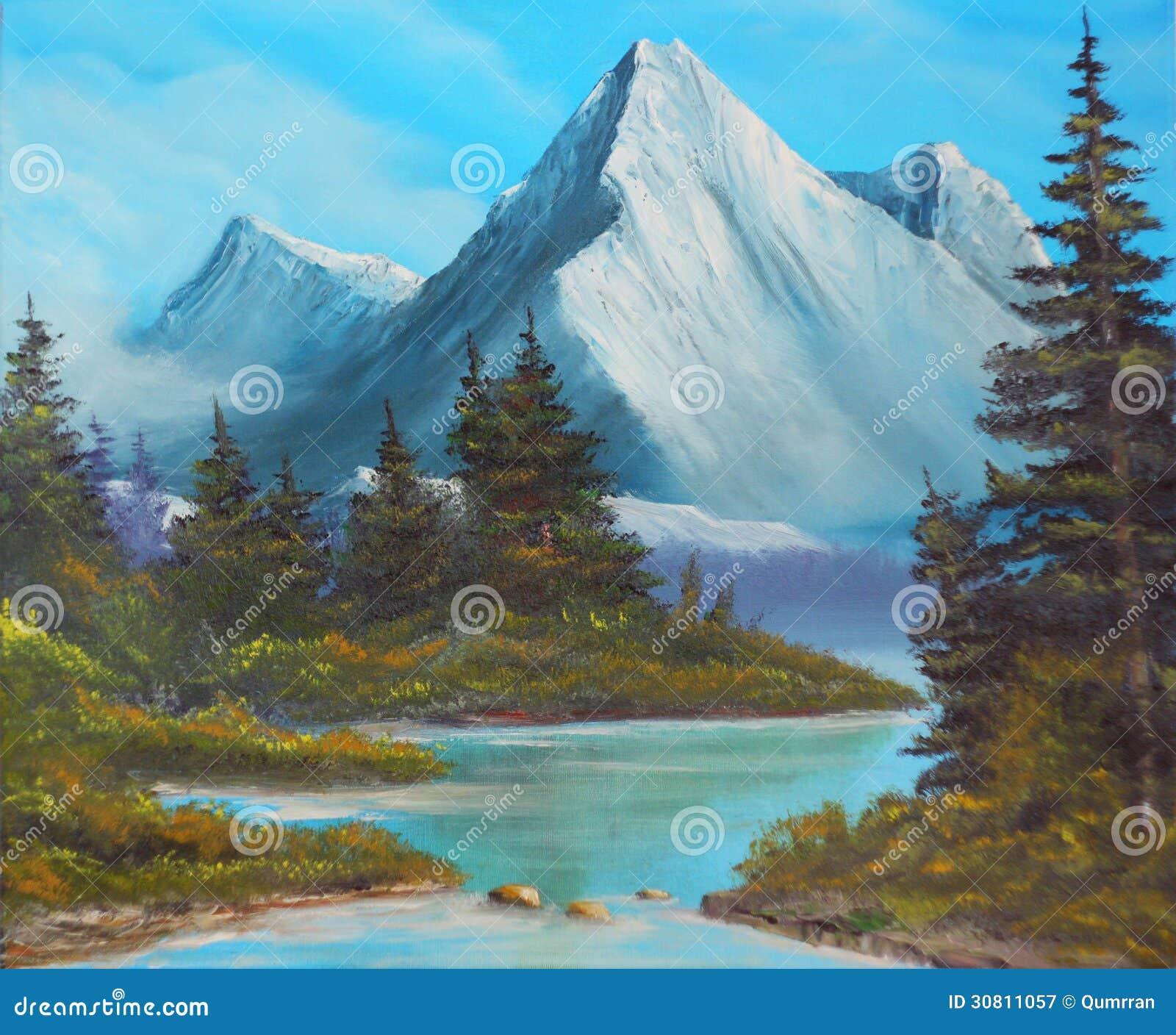 photographie stock libre de droits les arbres sur la banque du lac montagne dcrivent une peinture l huile toile image