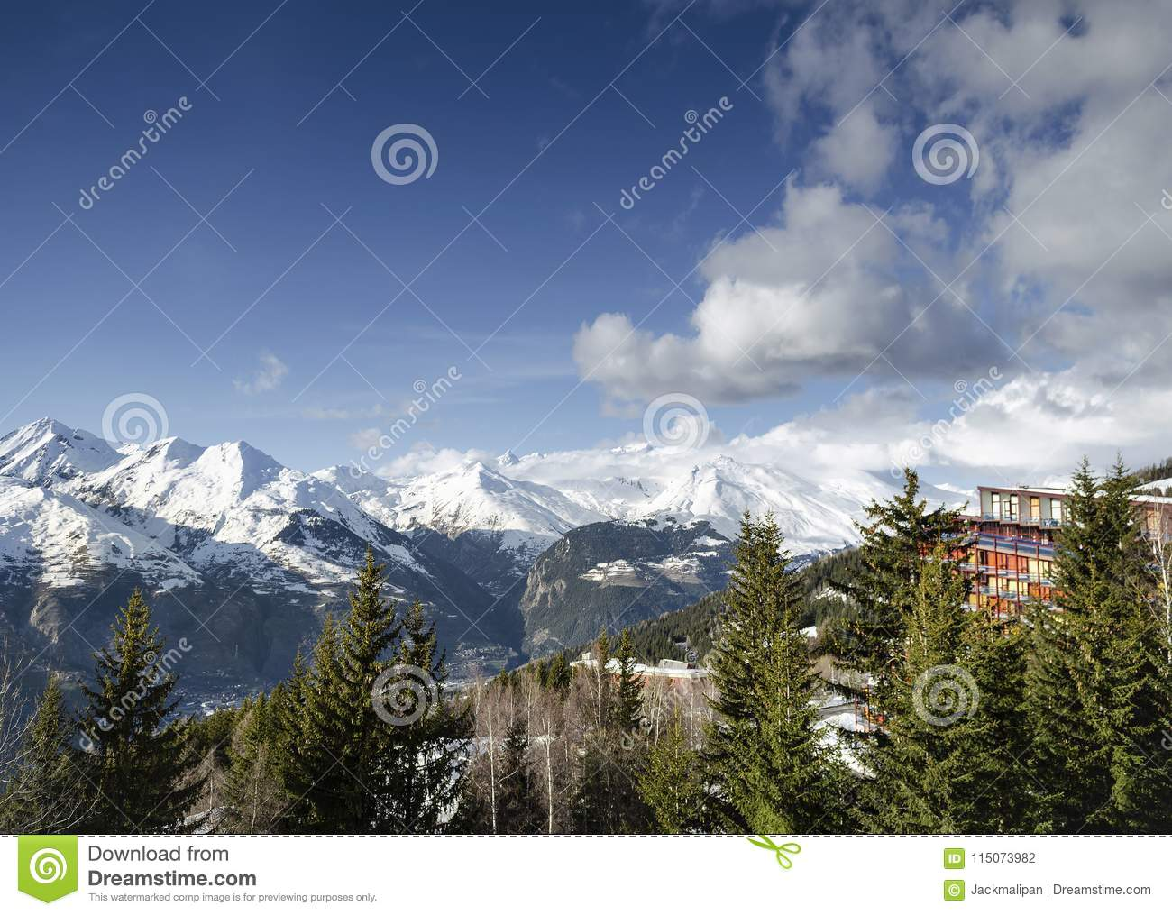 les arcs french alps ski resort and mountains in france stock photo