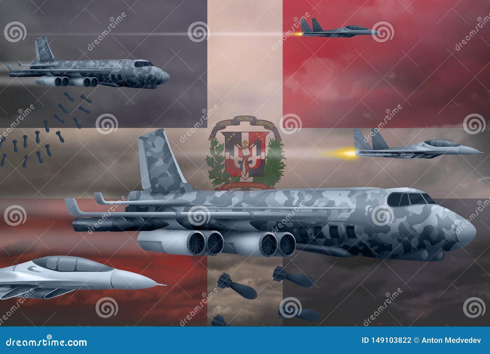 Les Arm?es de l Air de la R?publique Dominicaine bombardant le concept de gr?ve Les avions d air d arm?e de la R?publique Dominic