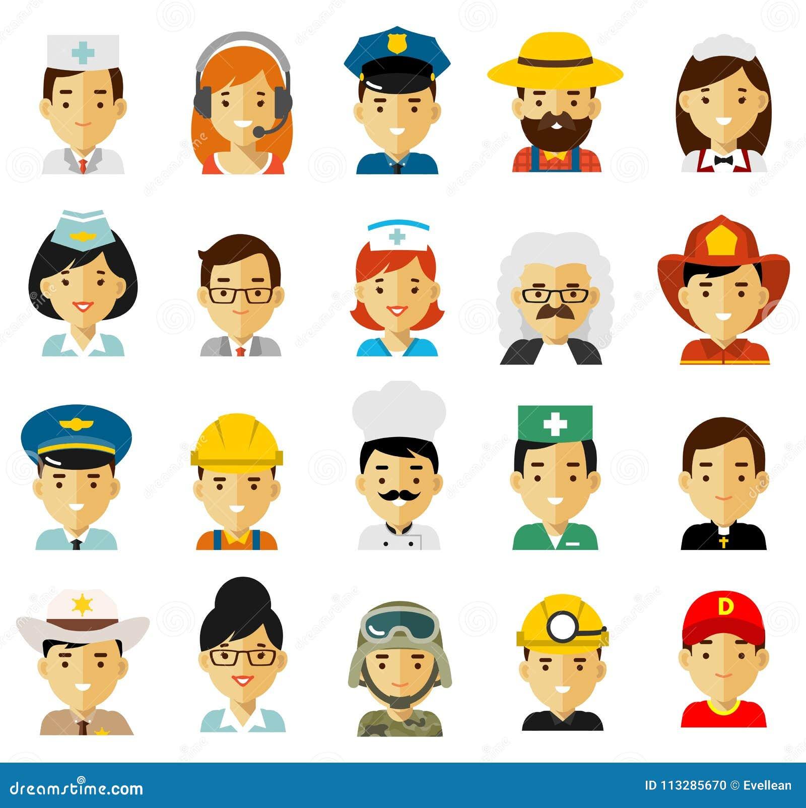 Les avatars de caractères de profession de personnes ont placé dans le style plat d isolement sur le fond blanc