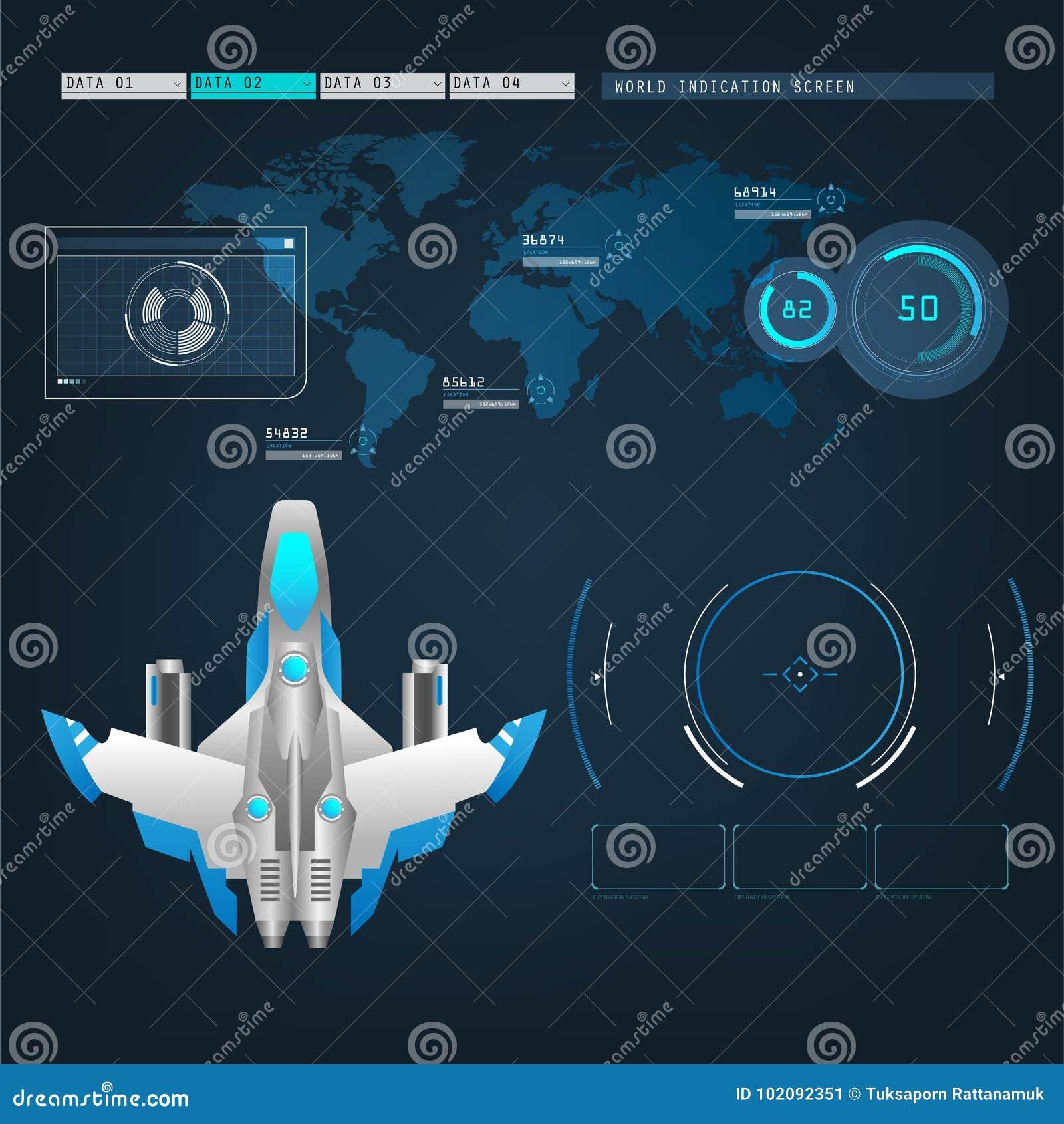 Les avions de vaisseaux spatiaux avec le futur mode d action de vue connectent