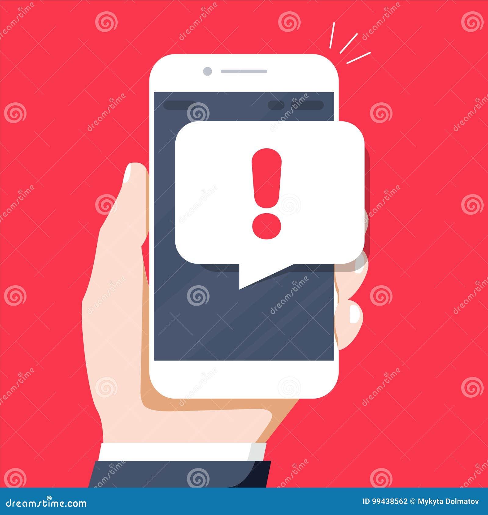 Les avis de téléphone, nouveau message ont reçu des concepts Main tenant le smartphone avec la bulle de la parole