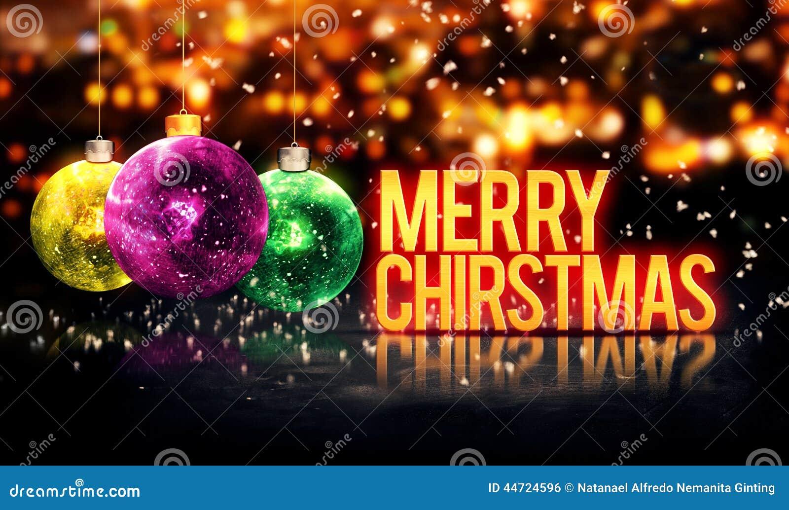 Les babioles accrochantes de Joyeux Noël jaunissent Bokeh beau 3D