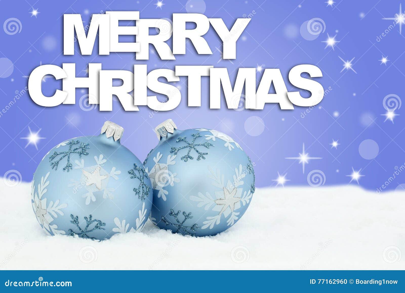 Les babioles de boules de carte de Joyeux Noël tient le premier rôle la neige de fond