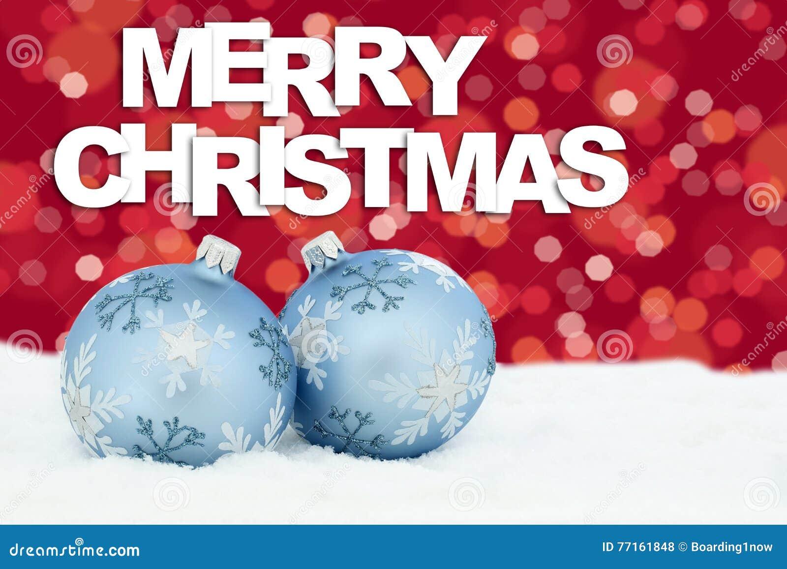 Les babioles de boules de carte de Joyeux Noël tient le premier rôle le decorat de neige de fond