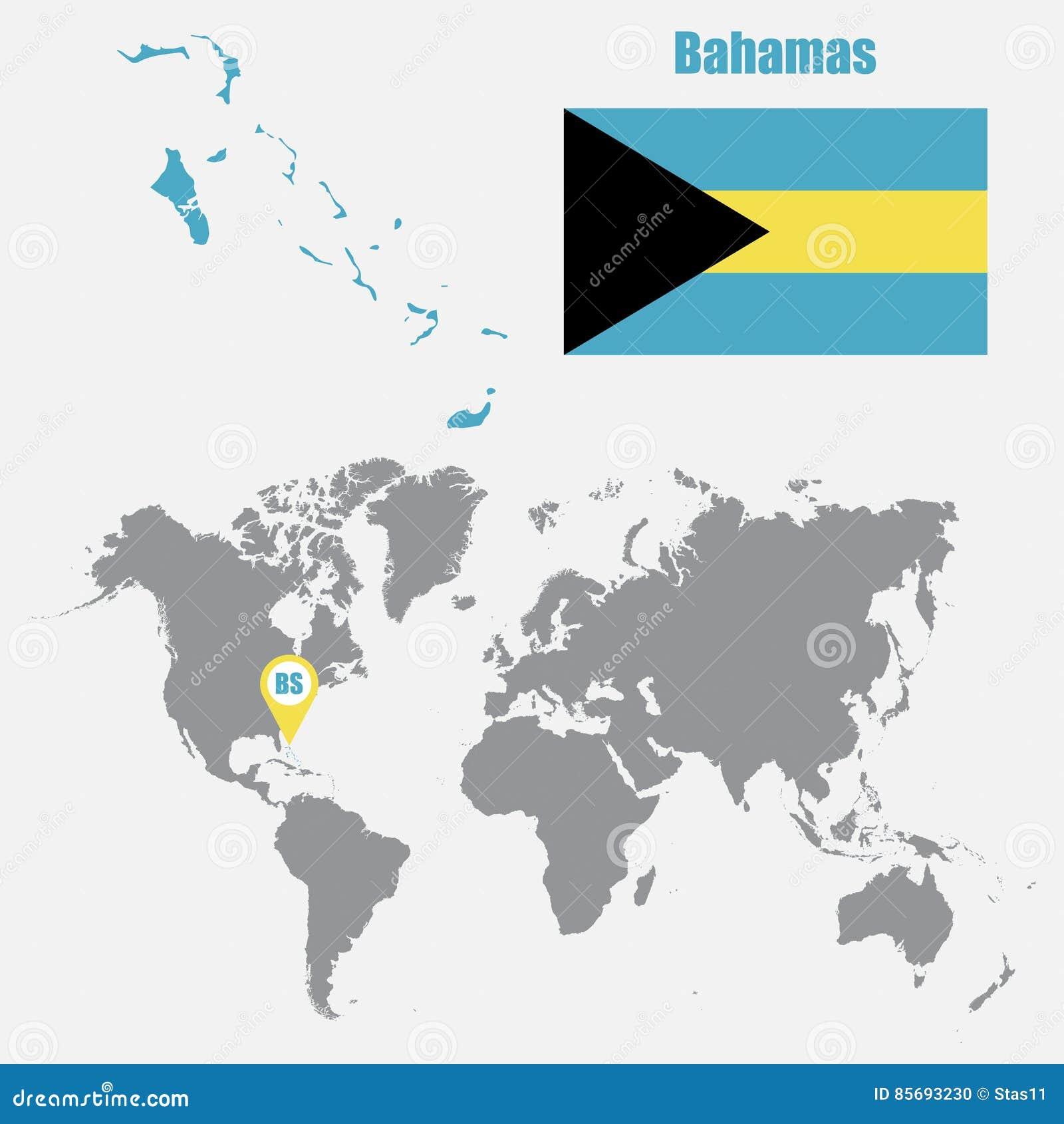 Carte Du Monde Bahamas.Les Bahamas Tracent Sur Une Carte Du Monde Avec Le Drapeau