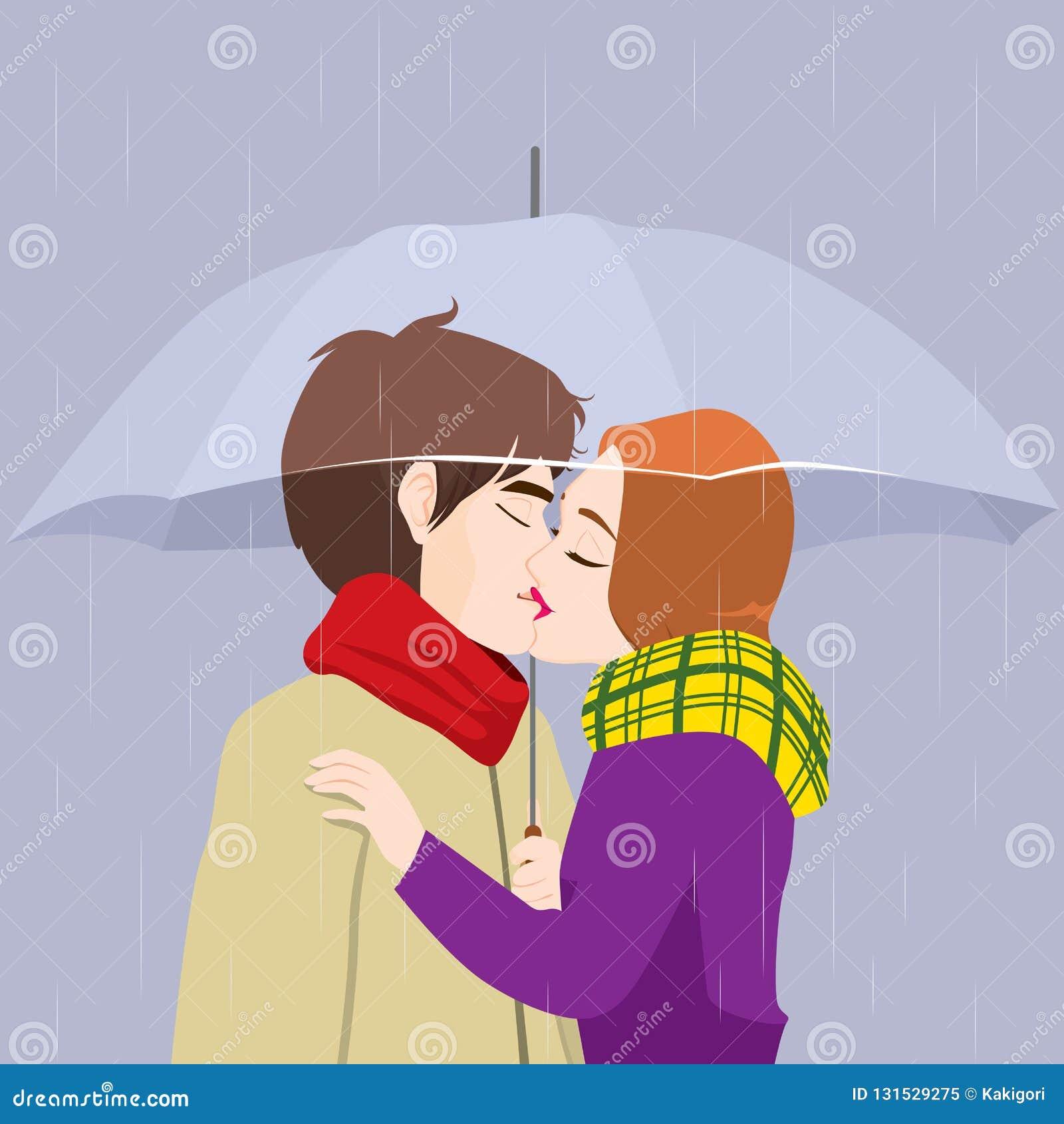 Les baisers couplent sous le parapluie