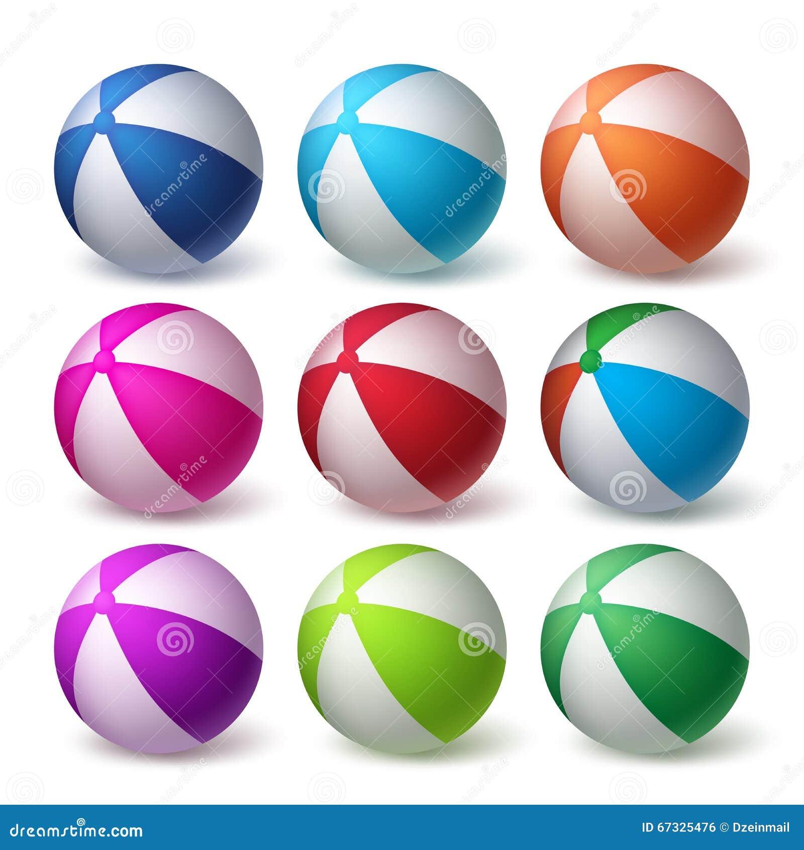 Les ballons de plage dirigent l ensemble en caoutchouc 3D réaliste coloré